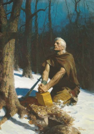 Moroni Hides the Plates in the Hill Cumorah (Moroni Burying the Plates)