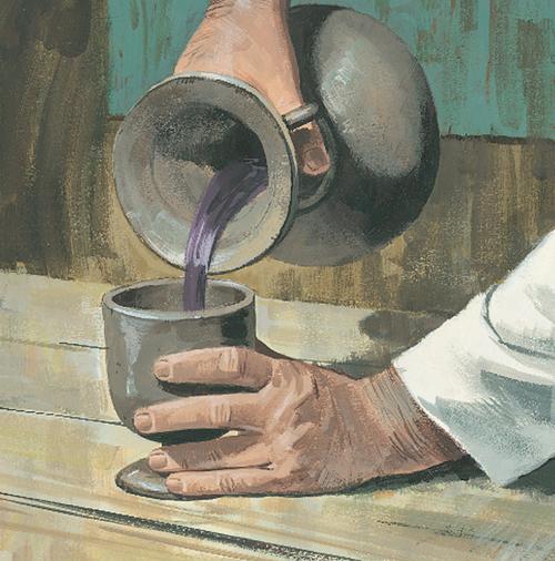 Jesus pouring wine
