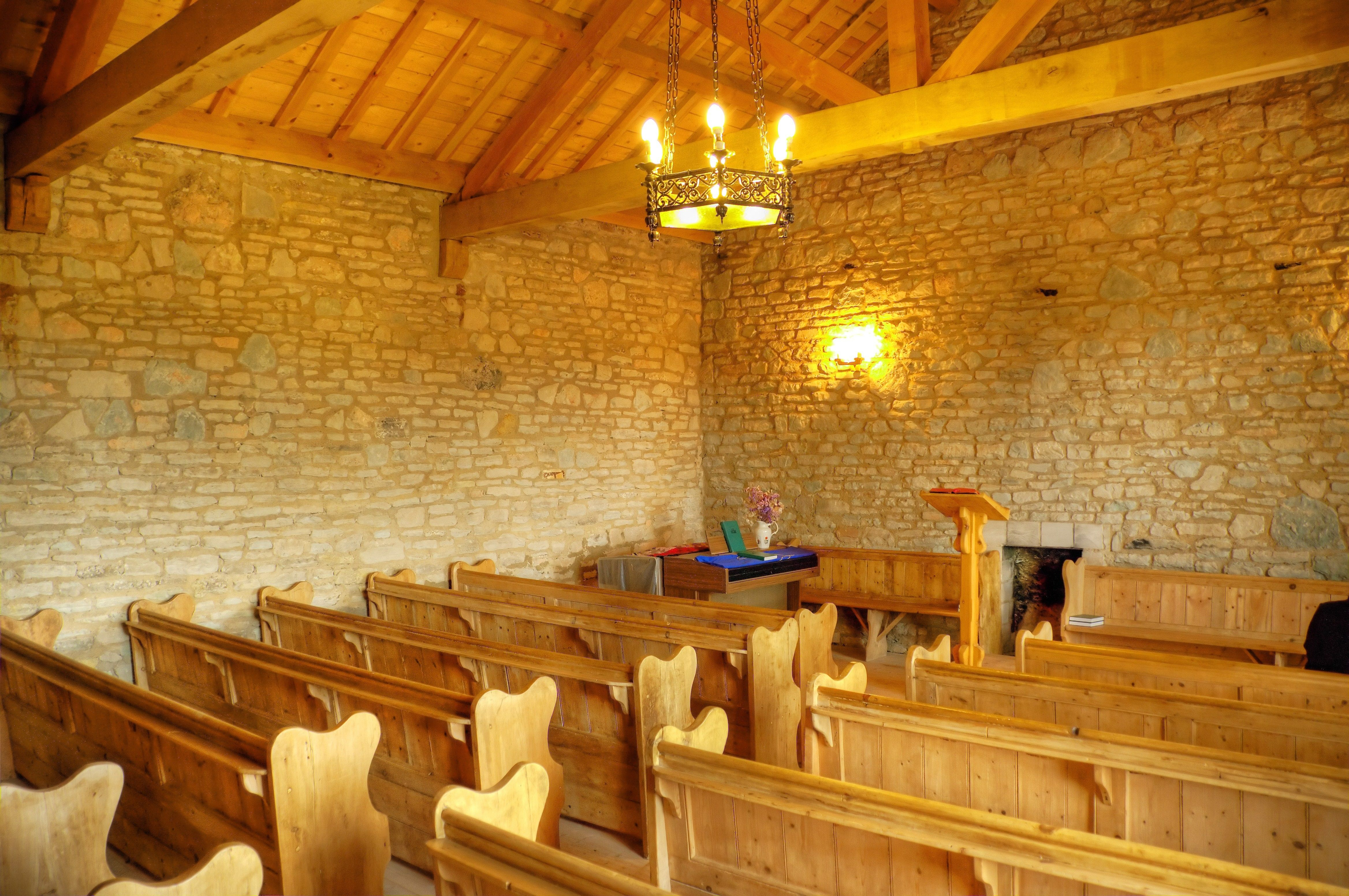 The interior of a chapel in Gadfield Elm, England.