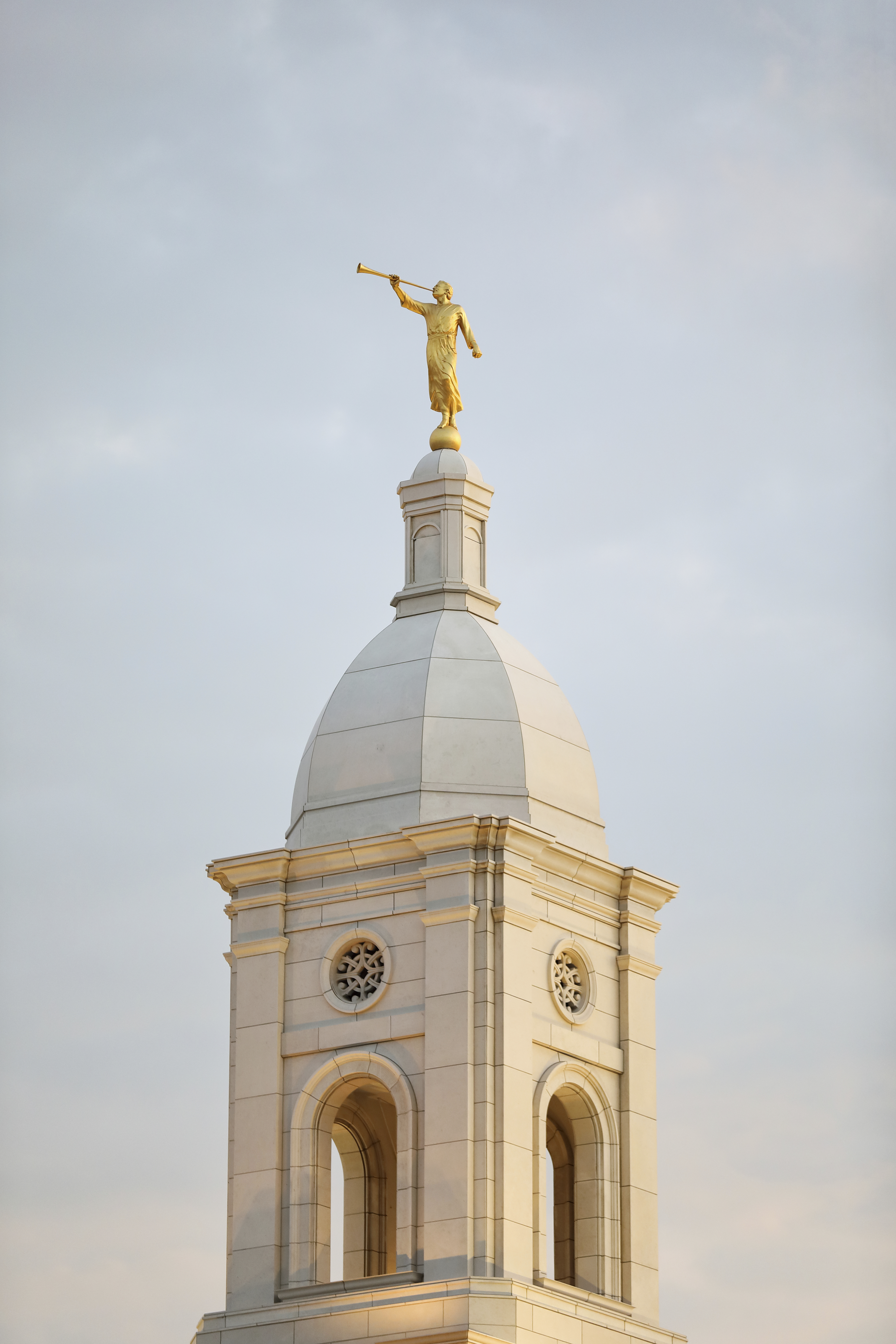 A close-up of the spire and the angel Moroni statue on the Barranquilla Colombia Temple.