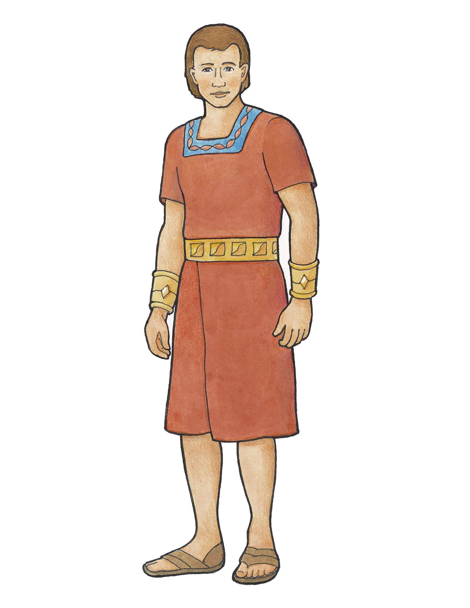Alma, a character from the Book of Mormon, dressed in traditional clothing.