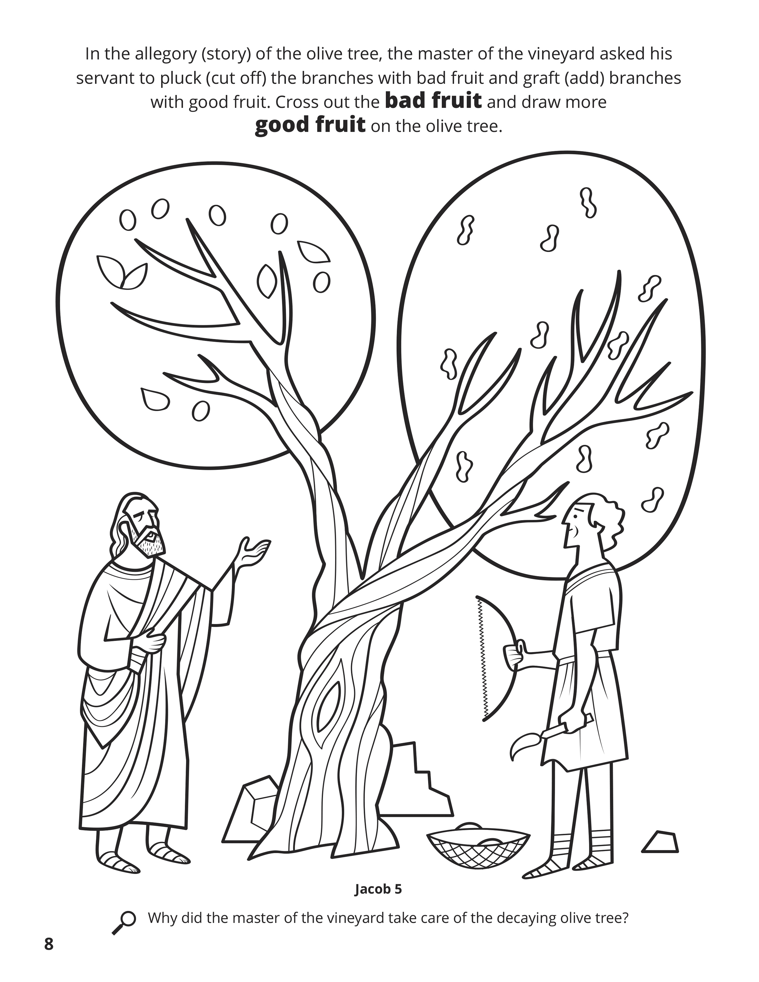 In the allegory (story) of the olive tree, the master of the vineyard asked his servant to pluck (cut off) the branches with bad fruit and graft (add) branches with good fruit. Cross out the bad fruit and draw more good fruit on the olive tree. Location in the Scriptures: Jacob 5. Search the Scriptures: Why did the master of the vineyard take care of the decaying olive tree?