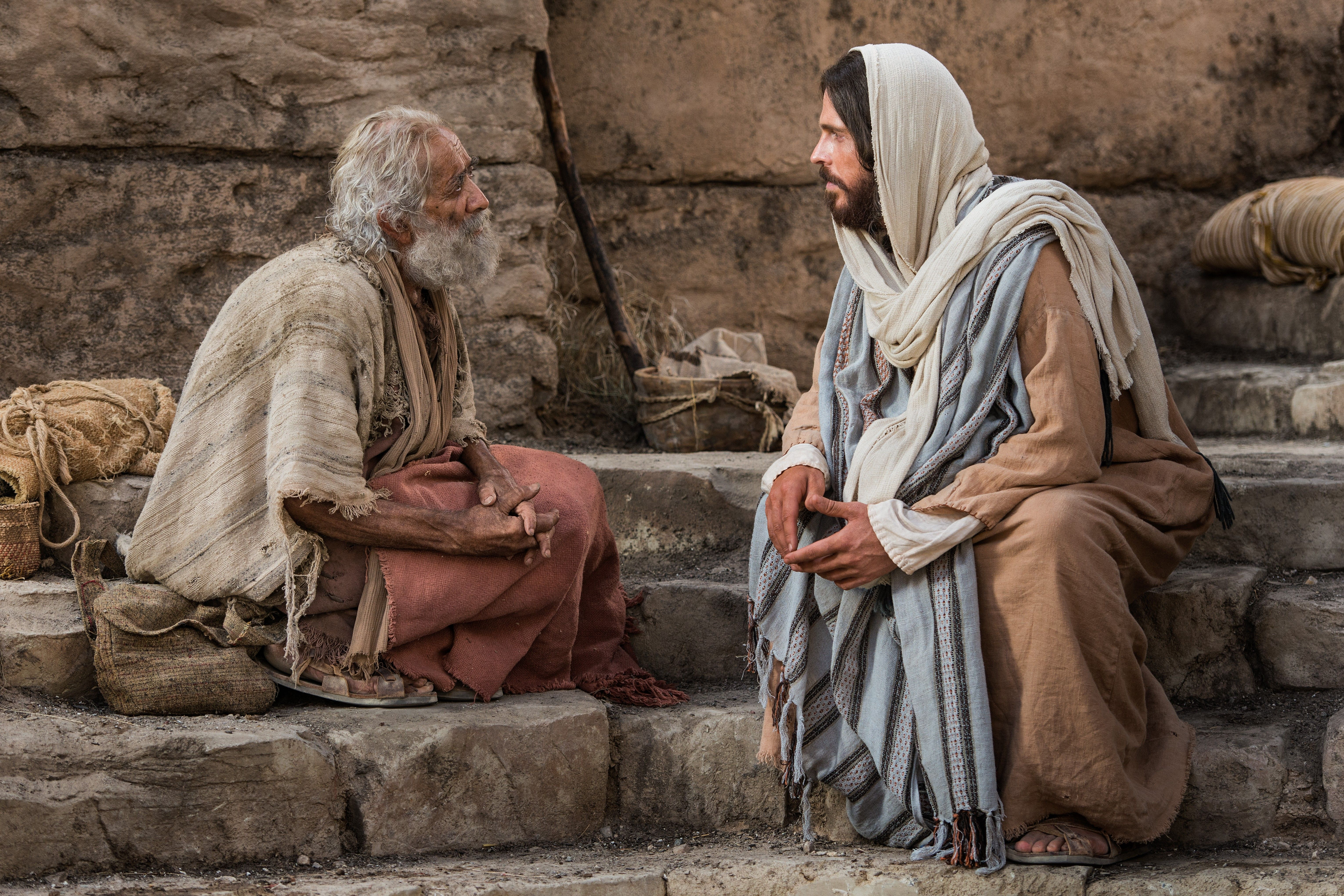 Jesus speaks to a lame man who wants to enter the pool of Bethesda to be healed.