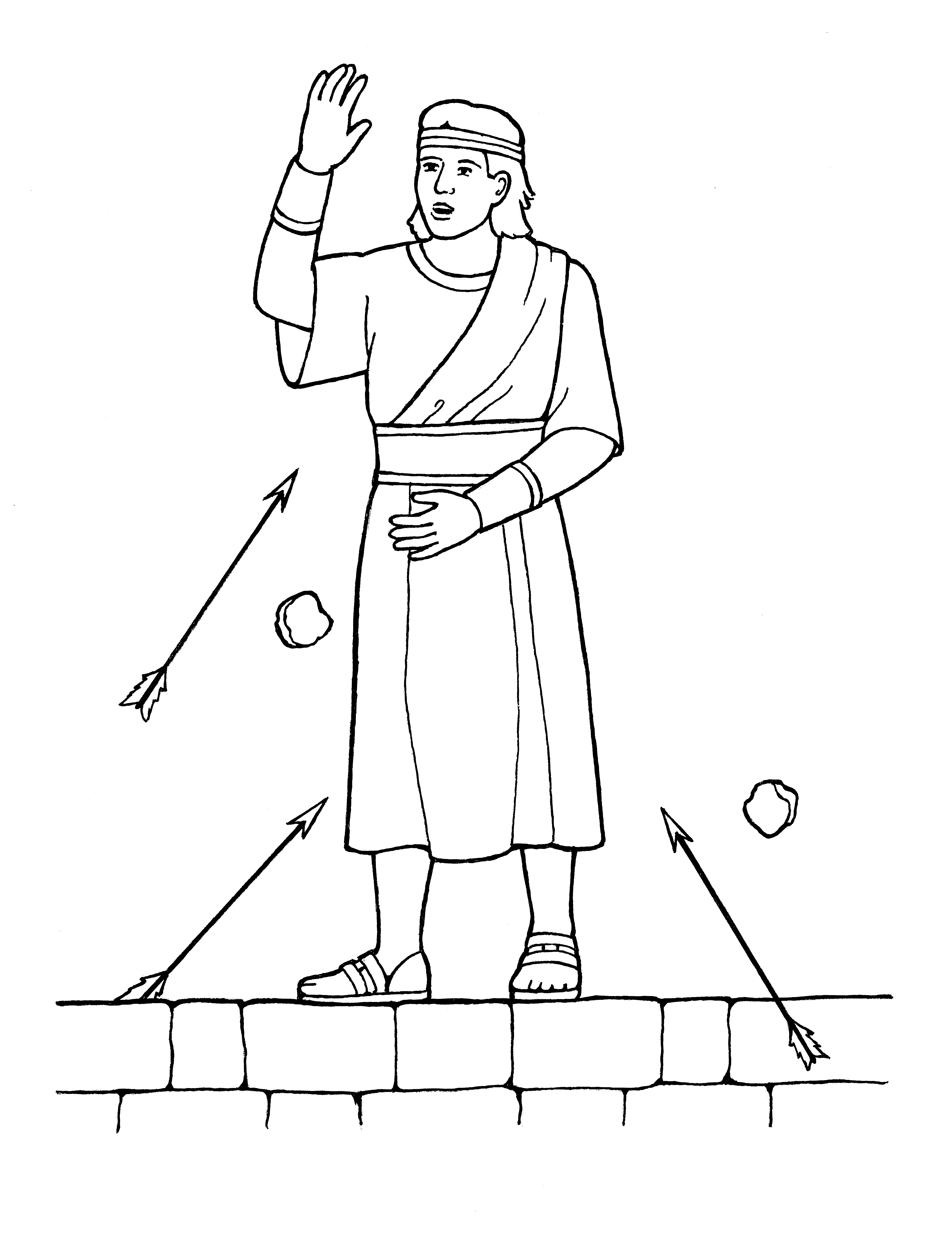An illustration of Samuel the Lamanite from the nursery manual Behold Your Little Ones (2008), page 103.