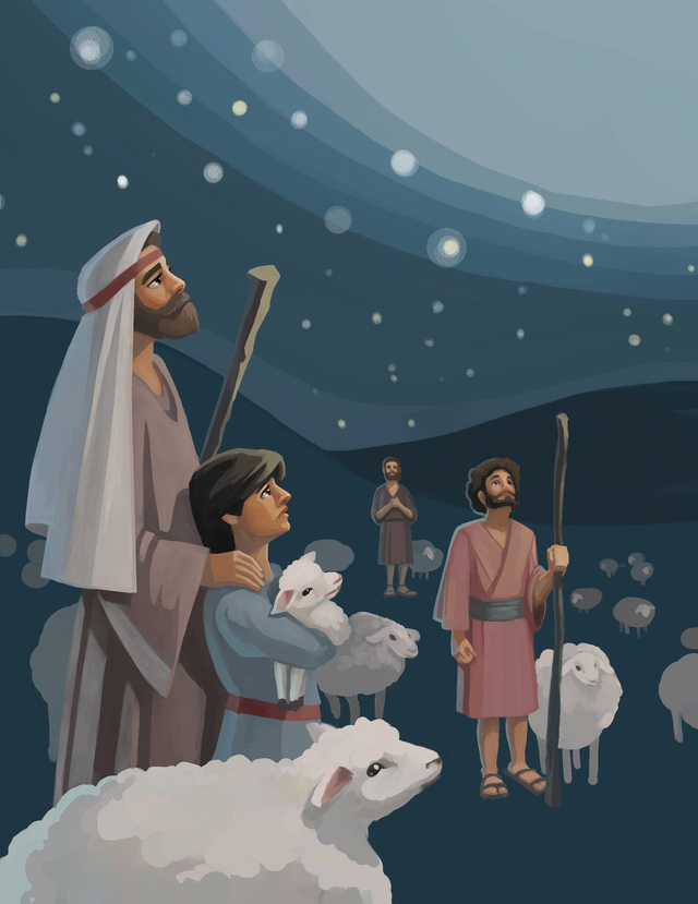 An illustration of a group of shepherds and their sheep looking up at the sky when a new star appears on the night of Christ's birth.