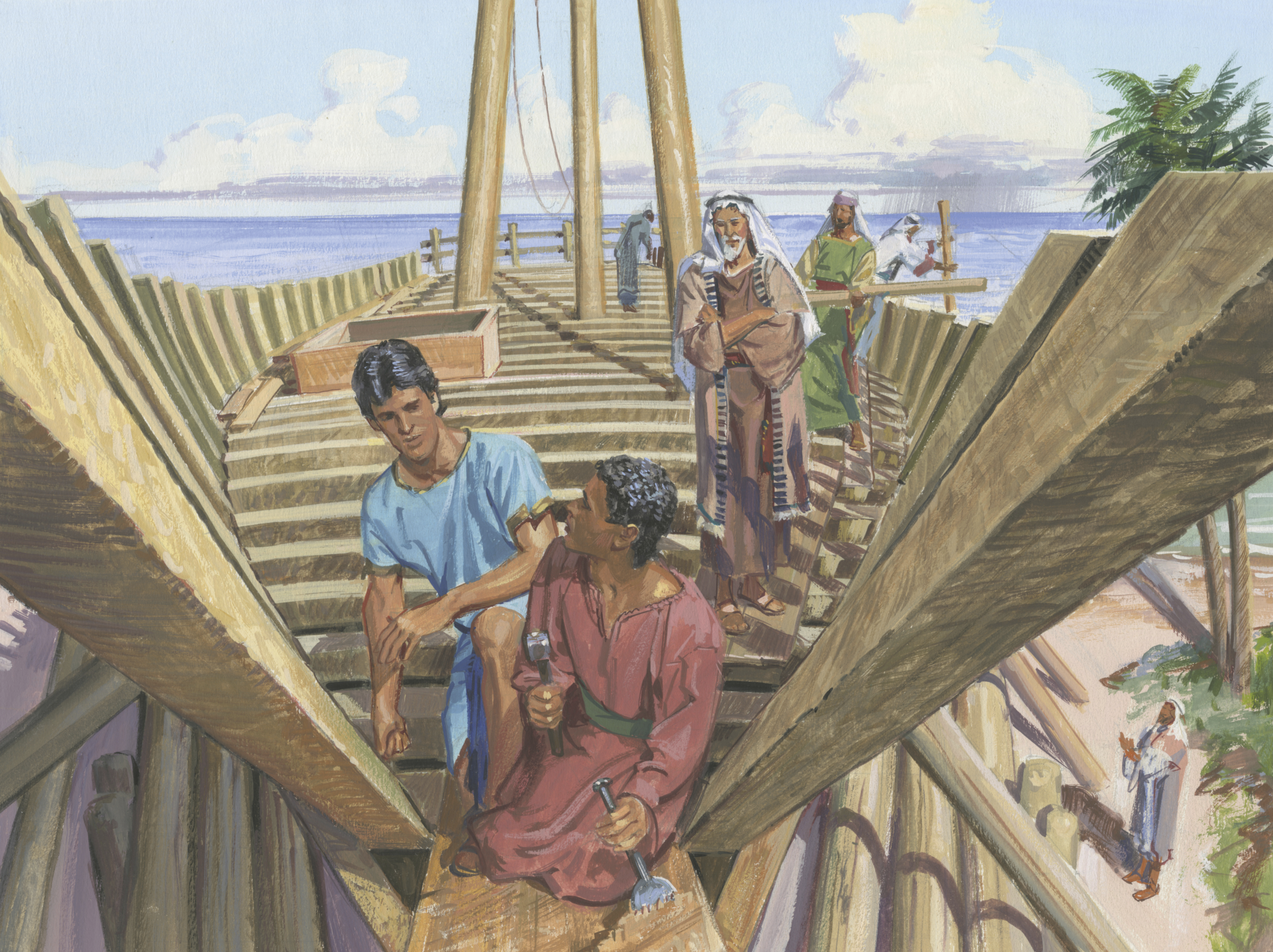 A painting by Jerry Thompson depicting Nephi building a ship; Primary manual 1-71