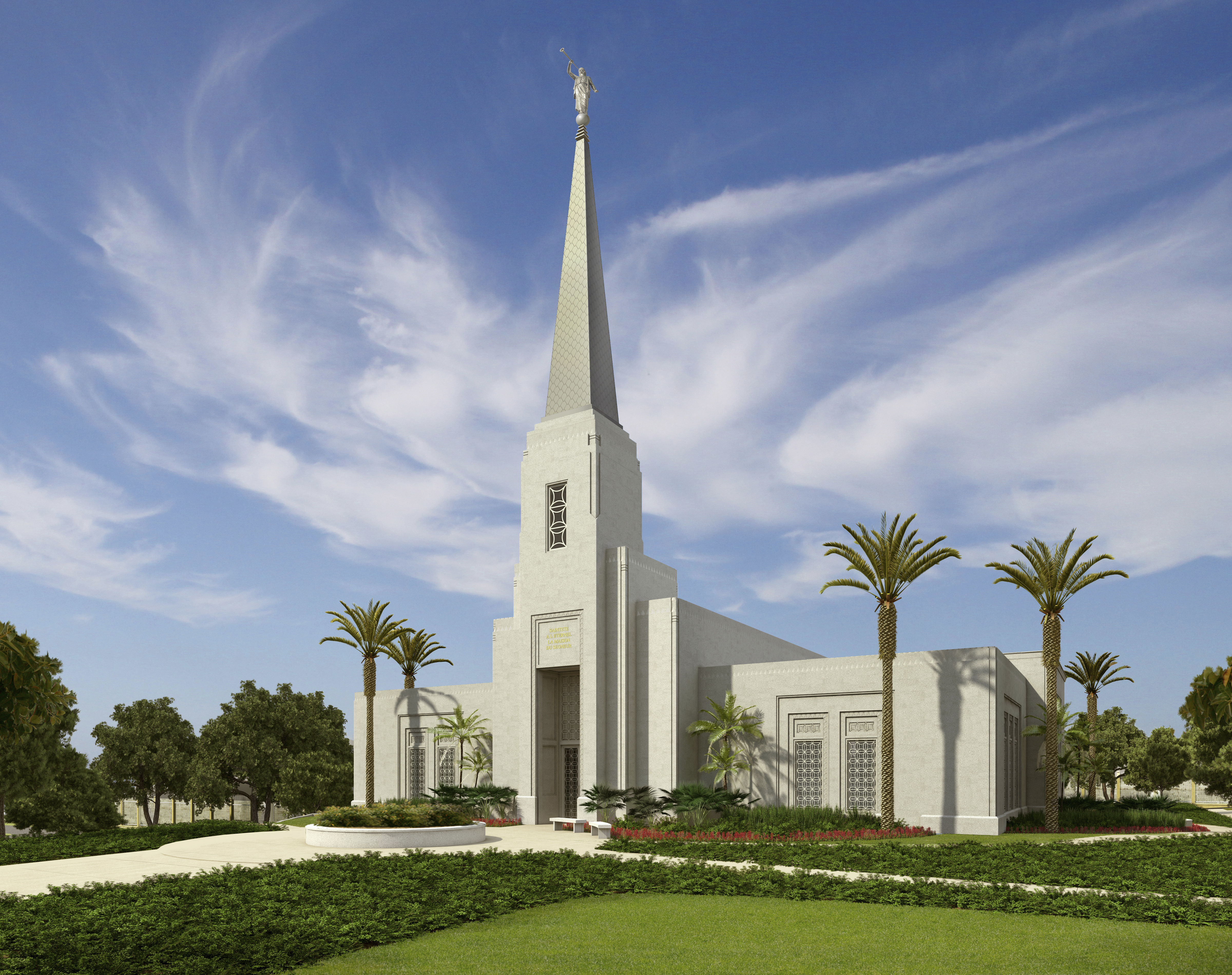An artist's rendering of the exterior of the Abidjan Ivory Coast Temple.