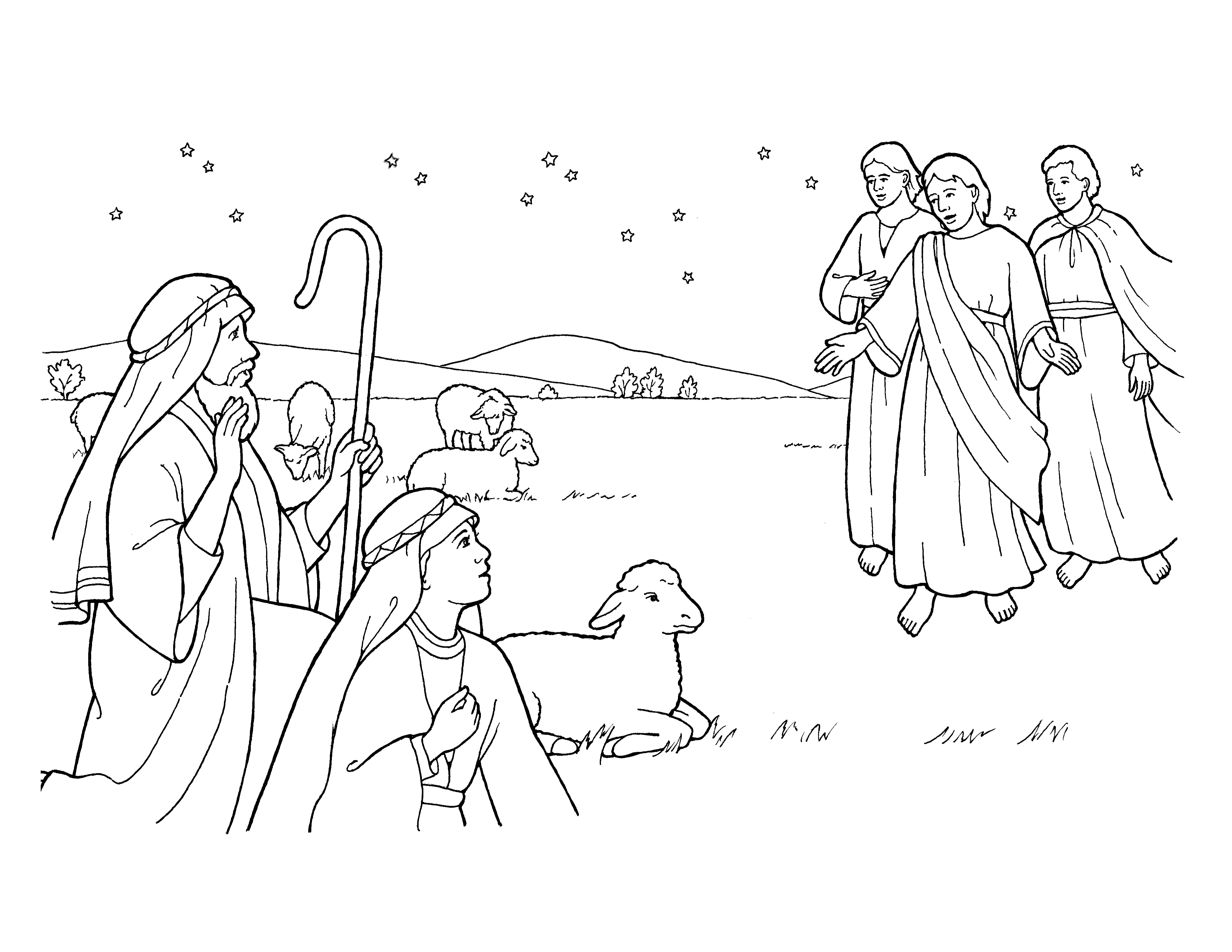 An illustration of the angels appearing to the Shepherds.