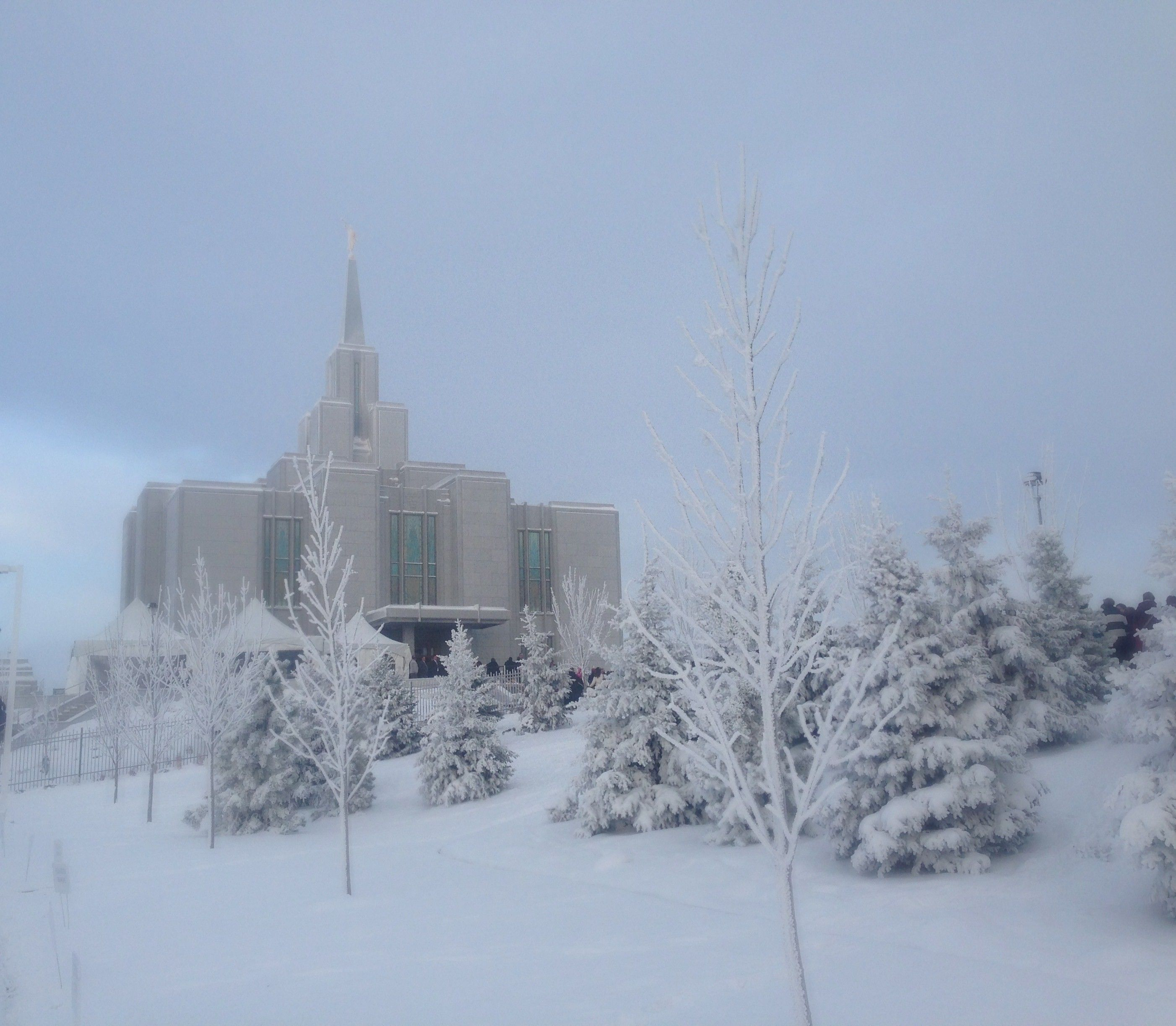 The Calgary Alberta Temple and grounds during the winter.