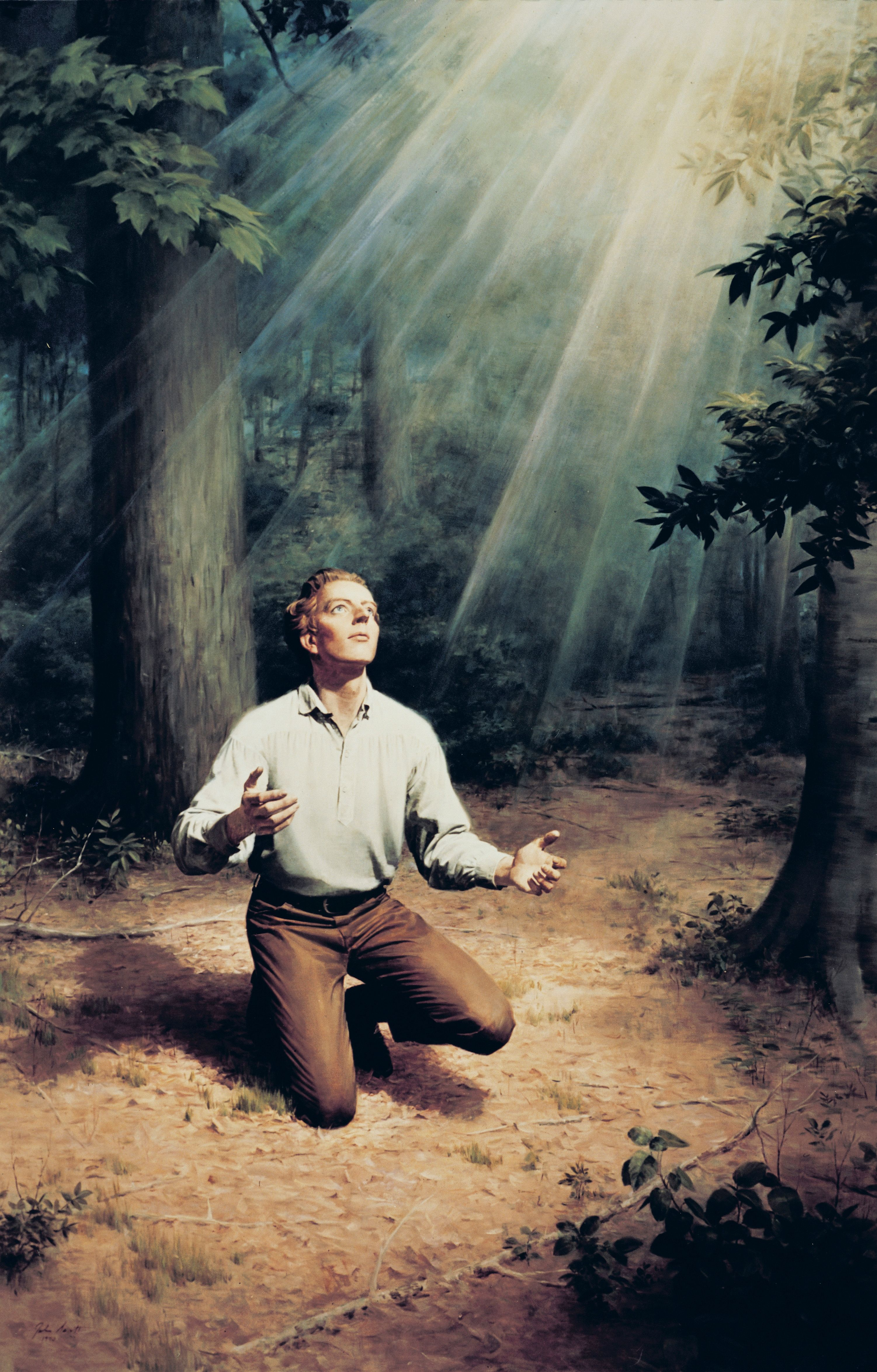 A painting by John Scott showing Joseph Smith praying in the Sacred Grove.