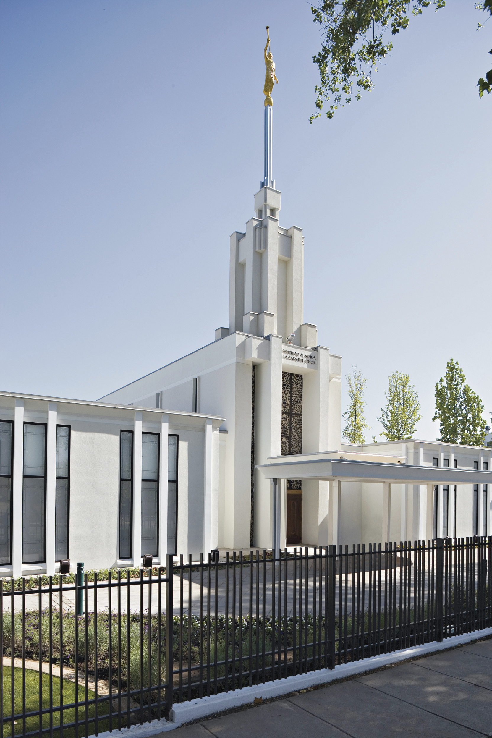 The Santiago Chile Temple, including the entrance and spire.