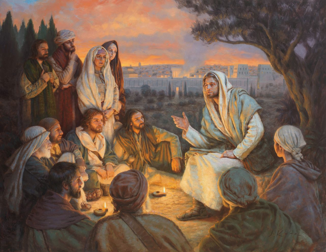 Jesus Christ teaches His disciples on a hill overlooking the city gates of Jerusalem