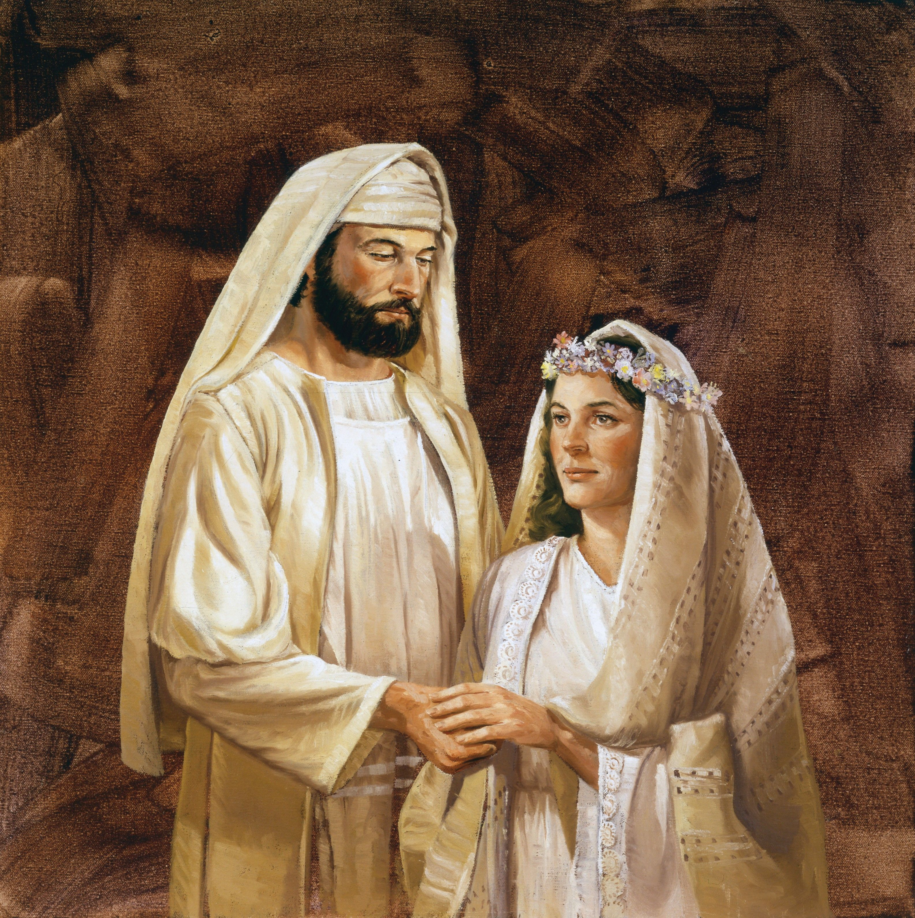 A depiction of a New Testament–era bride and groom, by Lyle Beddes.
