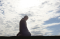 Composite: A silhouetted man praying and cloudy sky