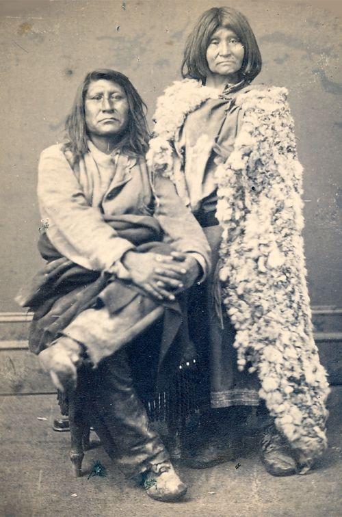 Se-go-witz and his bride in her rabbit-skin robe--Utes [ca. 1880]