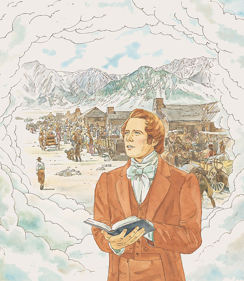 Joseph envisioning the Saints in Rocky Mountains