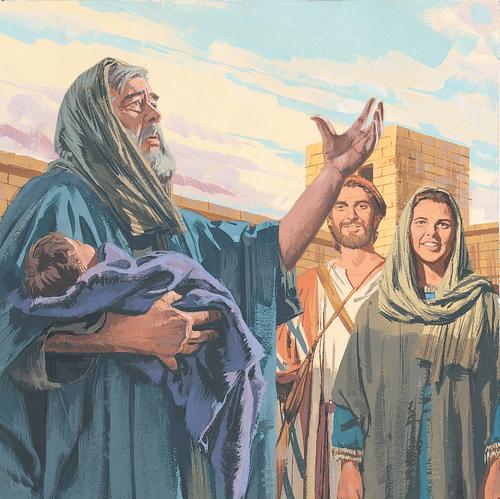 Simeon holding baby Jesus