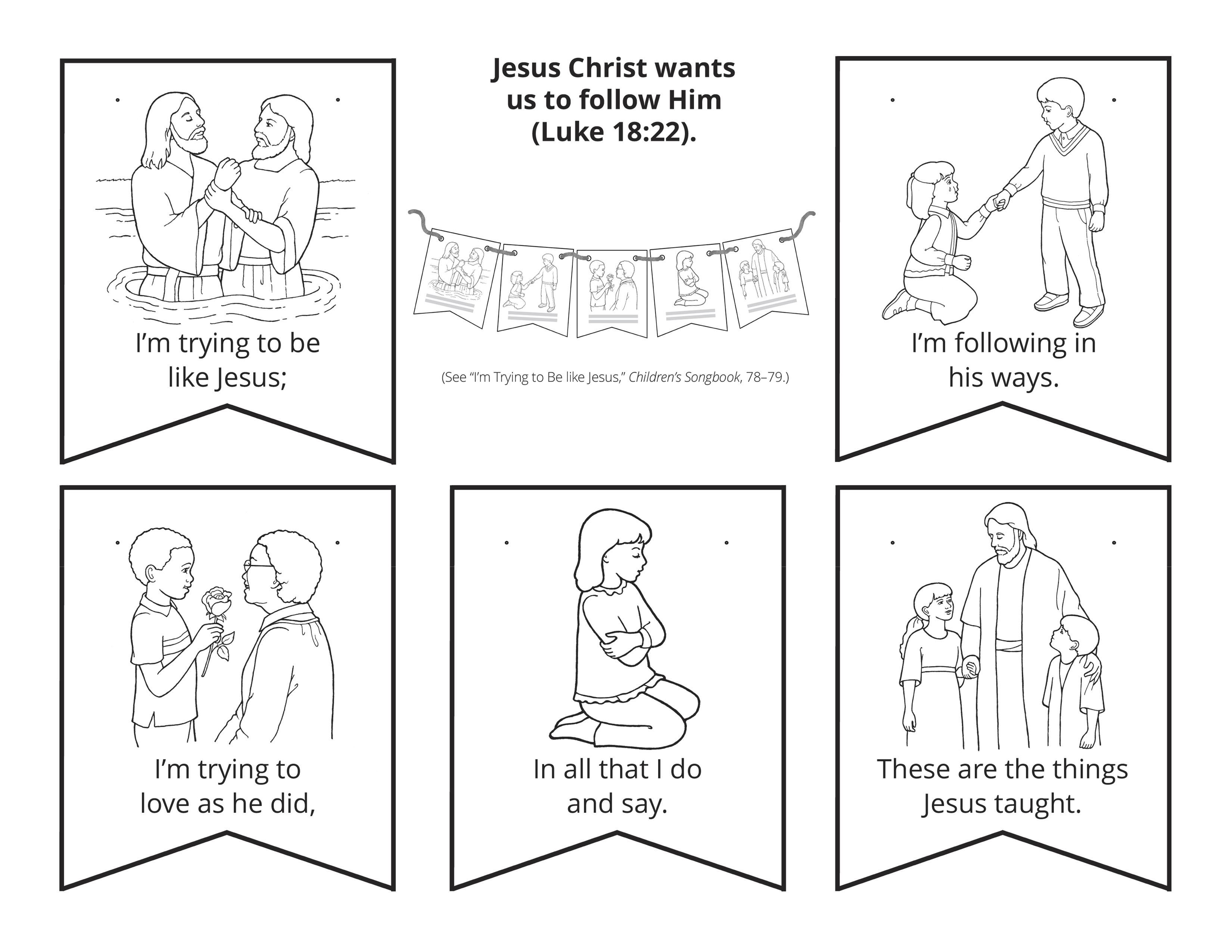 Five illustrations of people following Jesus Christ.