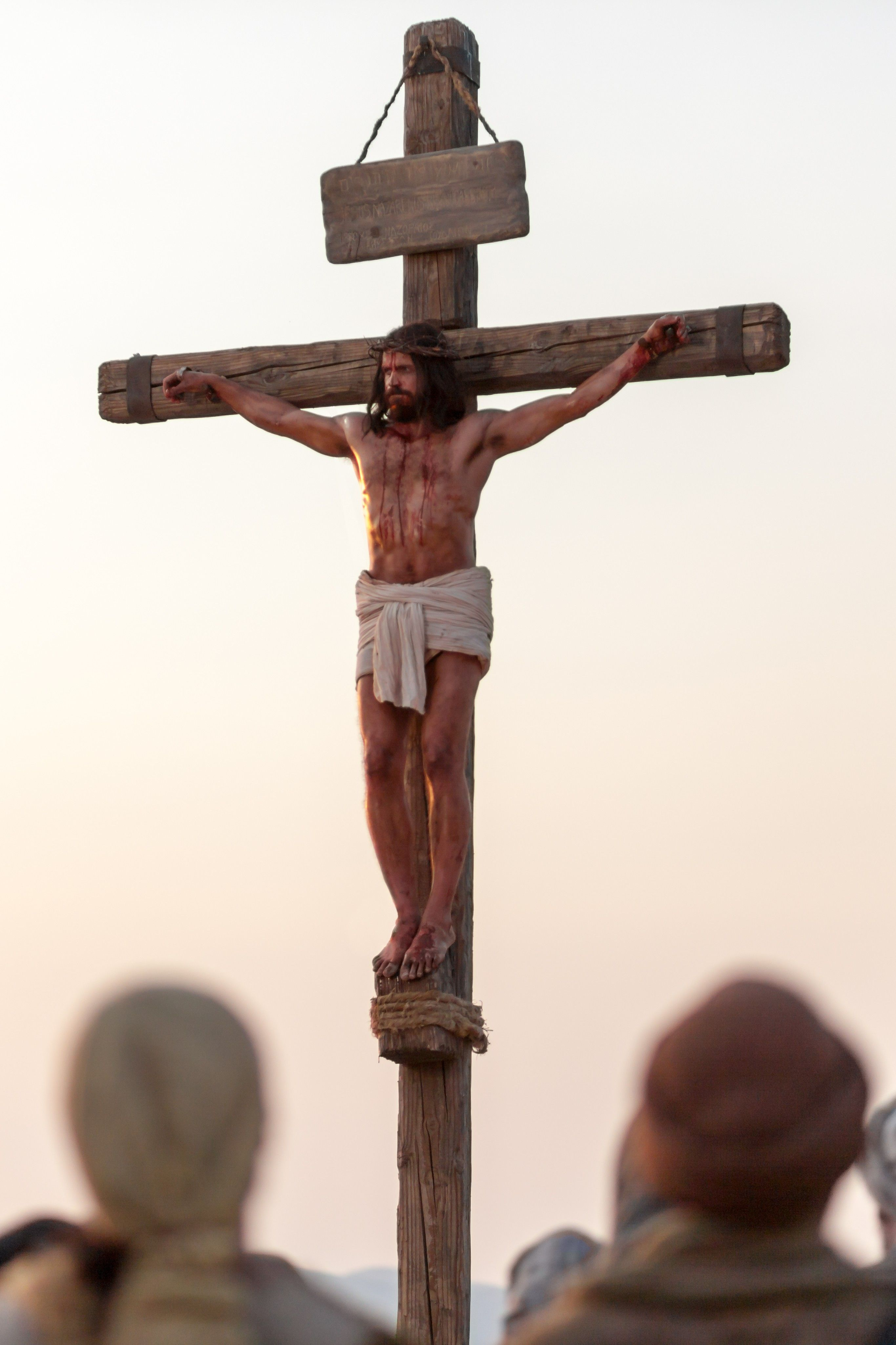 A detail of Jesus Christ on the cross at the time of His death.