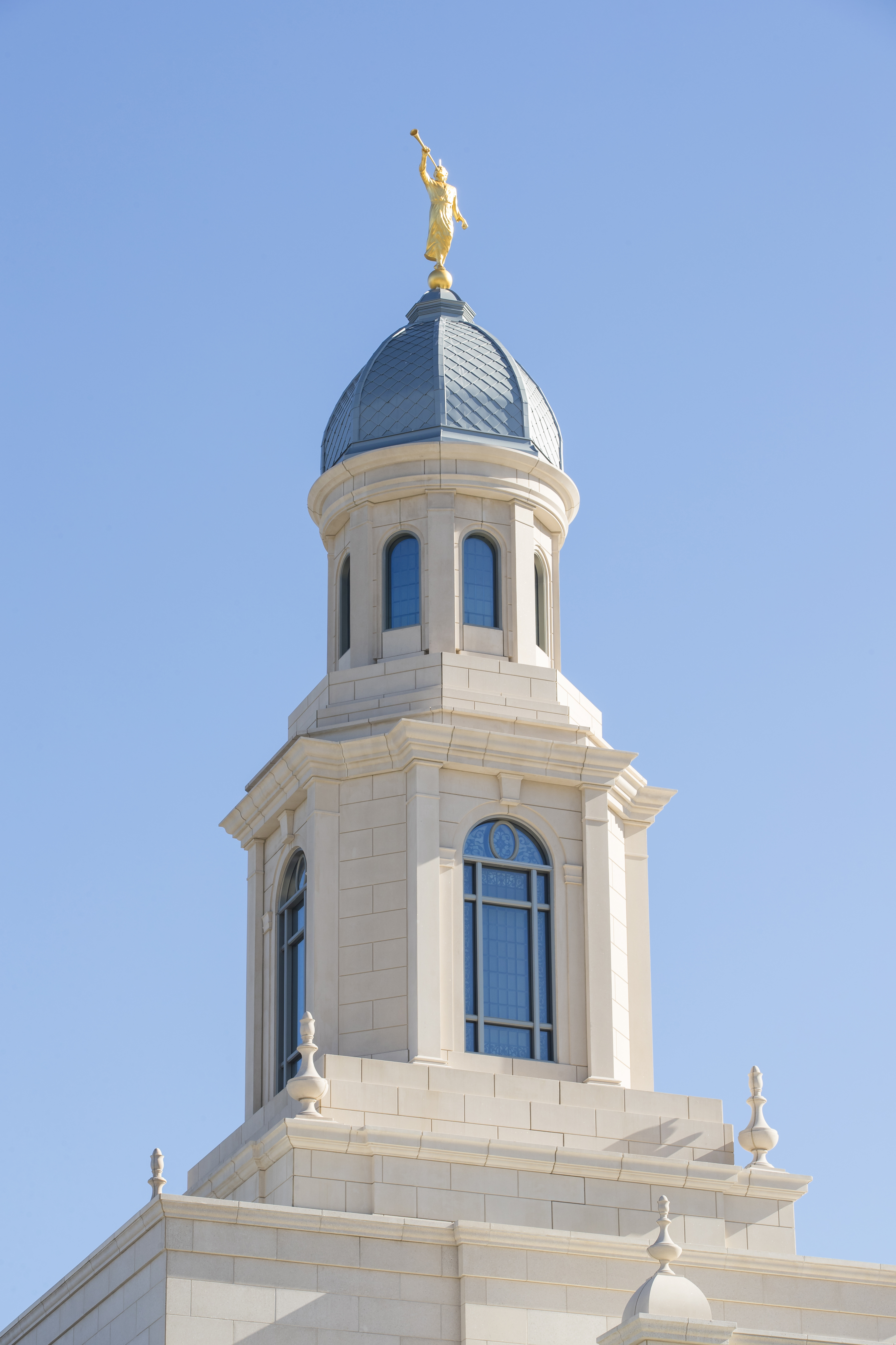 A view of the spire and angel Moroni statue on the Concepción Chile Temple.
