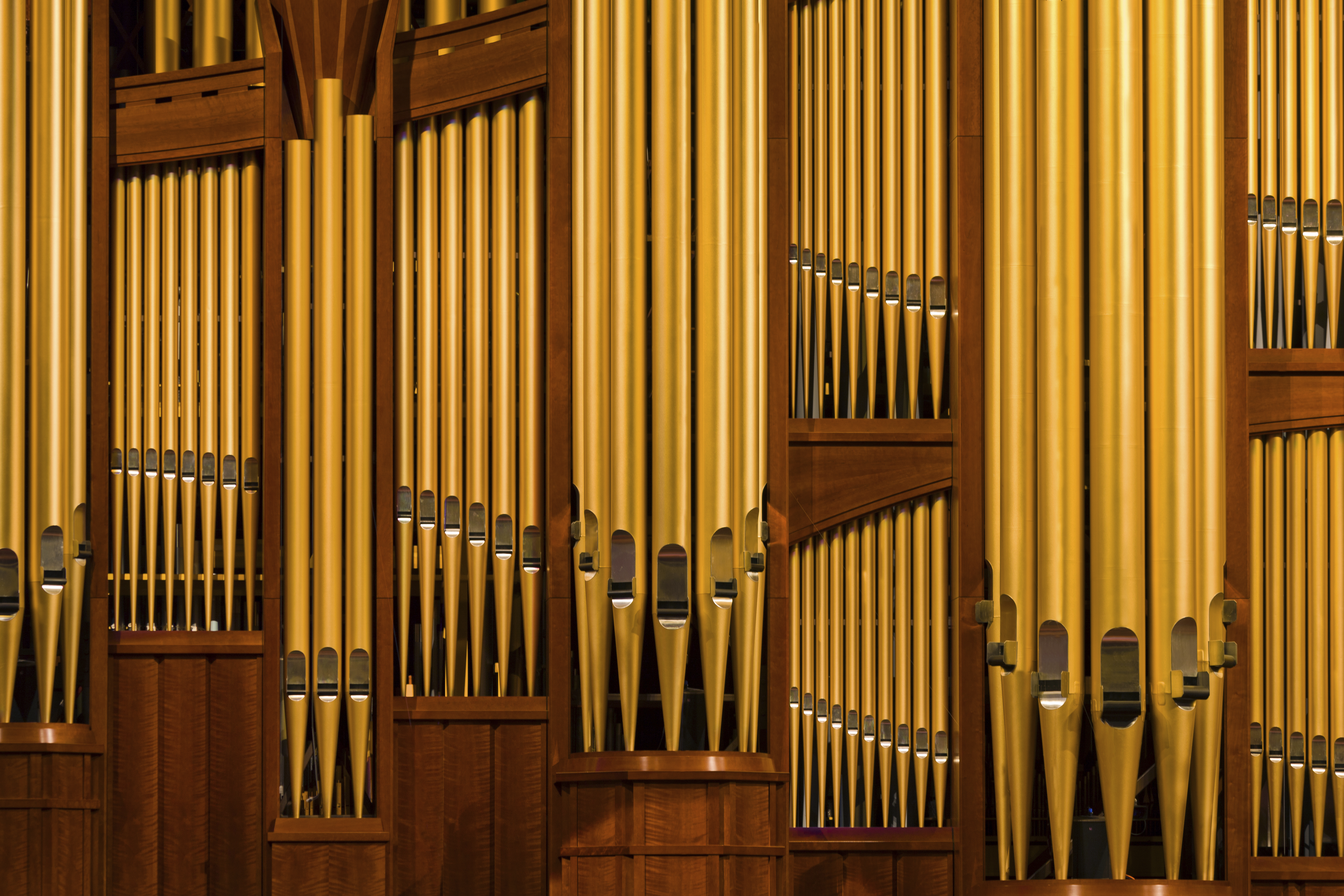 Tall organ pipes inside the Conference Center.
