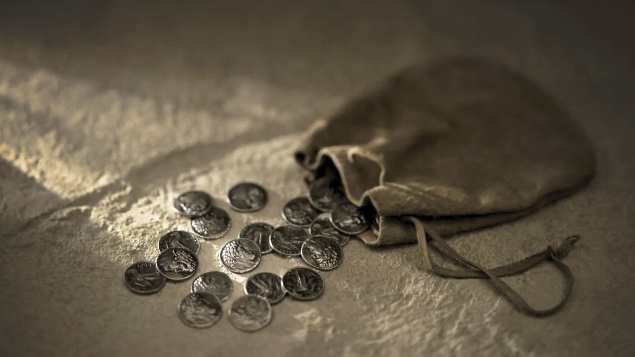 A small sack of silver coins. © undefined ipCode 1.