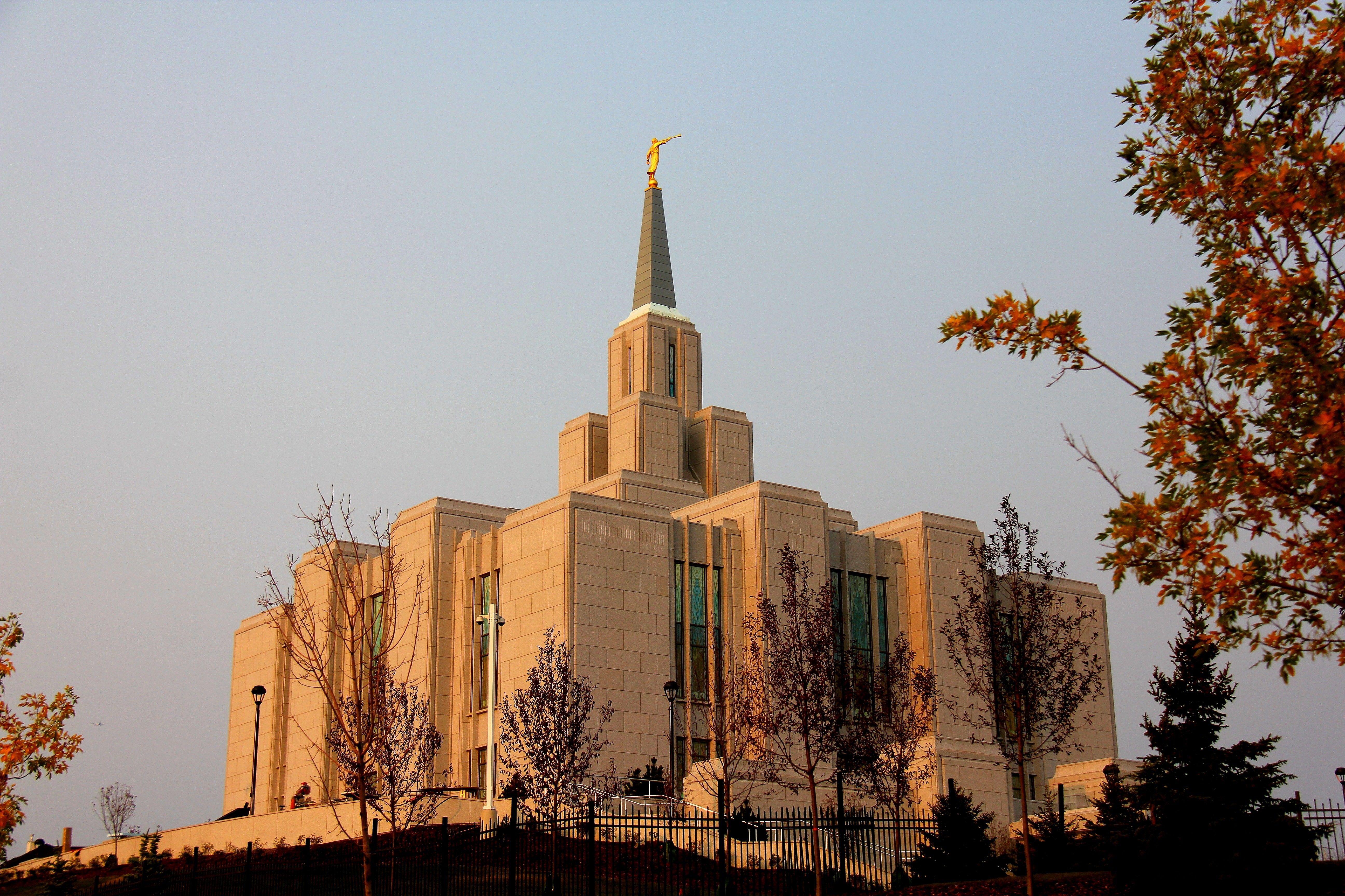 The Calgary Alberta Temple during the autumn season.