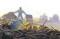 man standing in rubble
