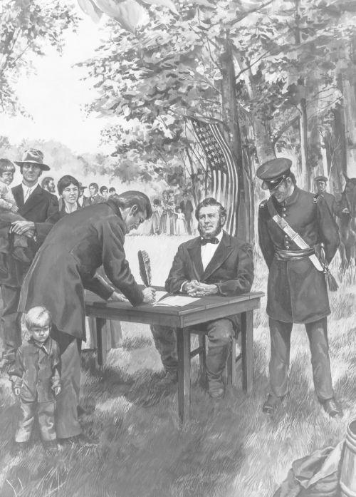 Brigham Young recruting the Mormon Battalion