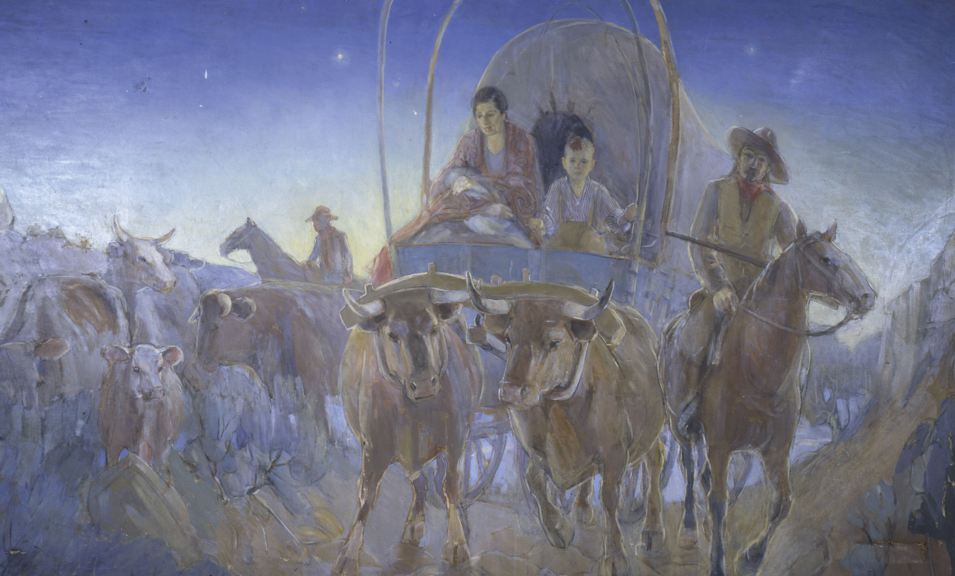 Covered Wagon Pioneers, Madonna at Dawn, by Minerva K. Teichert