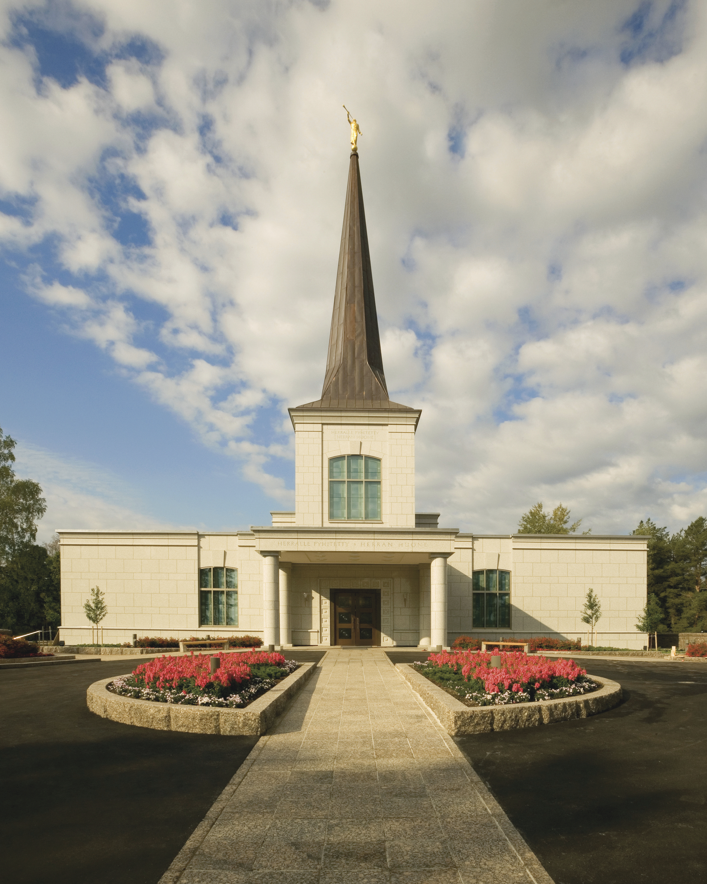 The front entrance to the Helsinki Finland Temple.