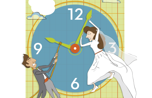 Bride and groom on clock