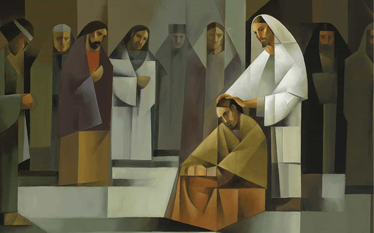 Jesus Christ places his hands on Peter's head and ordains him an Apostle to preach His Gospel