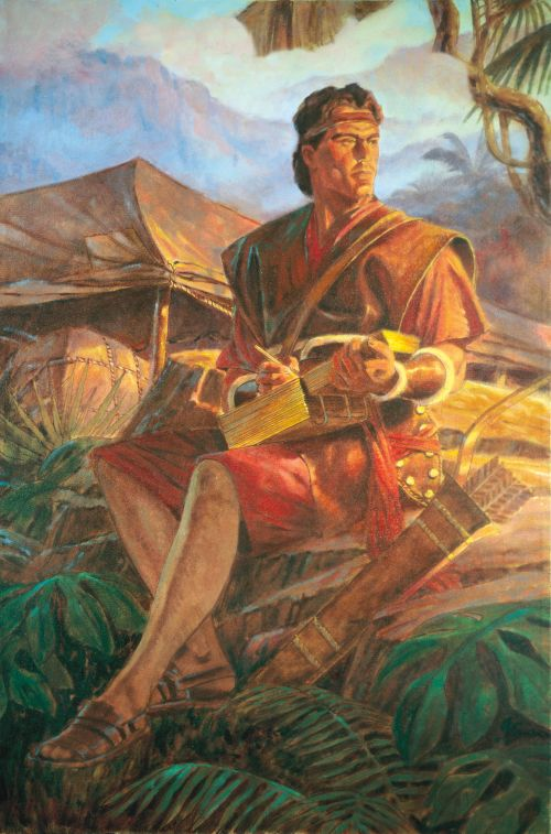 Nephi writing on the gold plates.