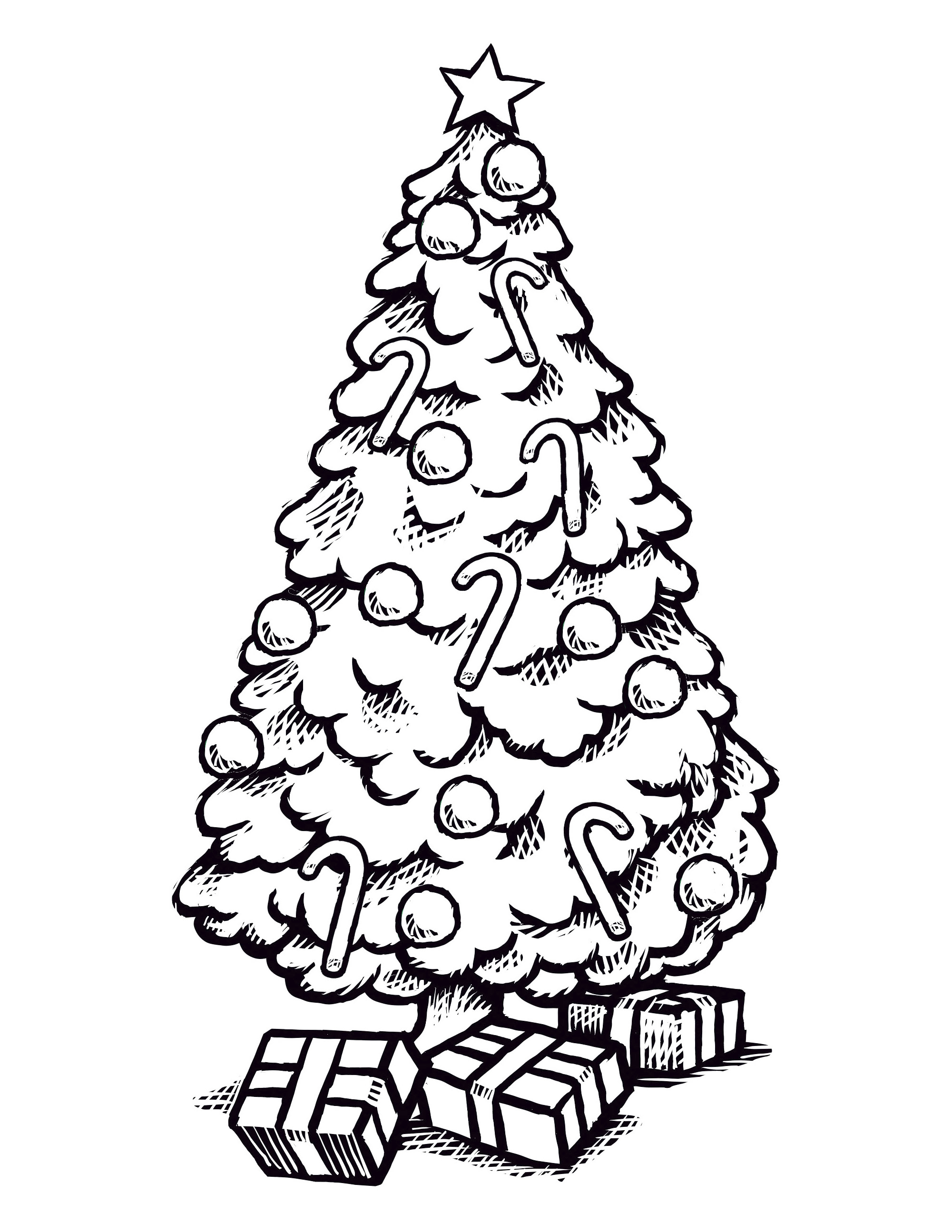 A coloring page of a Christmas tree and gifts.