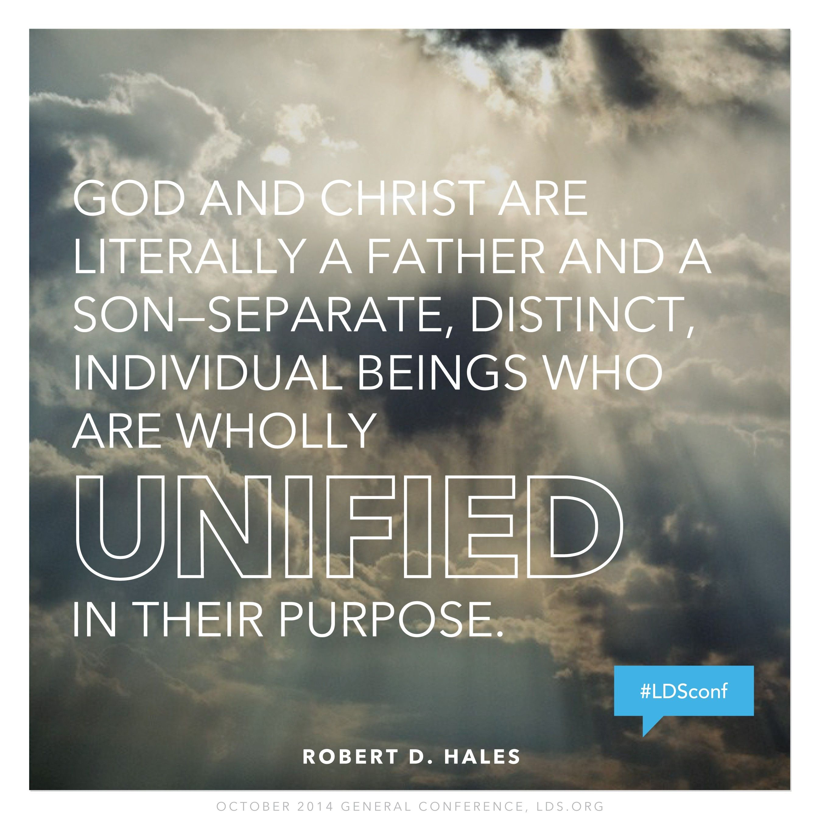 """""""God and Christ are literally a Father and a Son—separate, distinct, individual beings who are wholly unified in Their purpose.""""—Elder Robert D. Hales, """"Eternal Life—to Know Our Heavenly Father and His Son, Jesus Christ"""""""