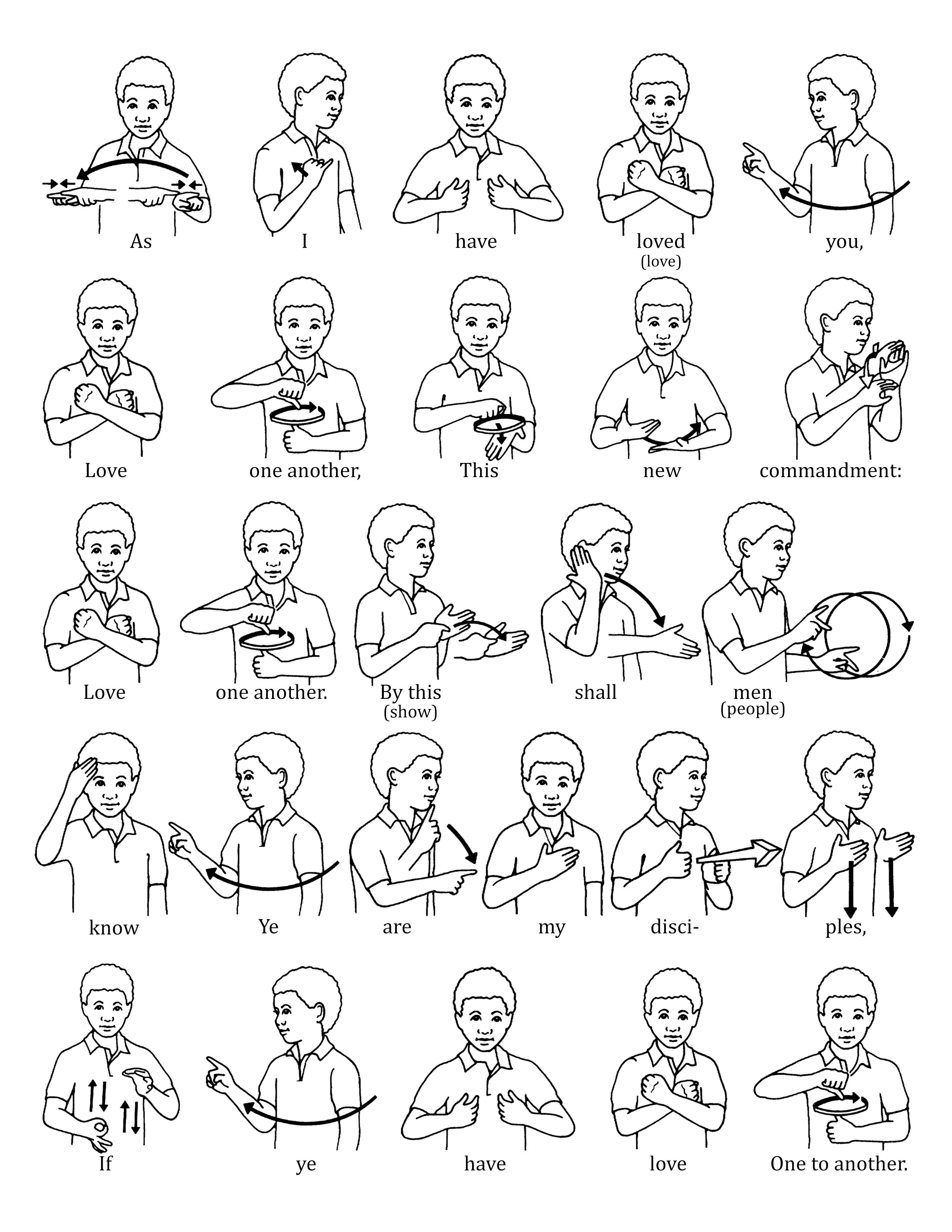"""A series of sign language illustrations to help children learn the signs for """"Love One Another."""" From the Children's Songbook, page 137, """"Love One Another""""; illustration by Jennifer Harward."""