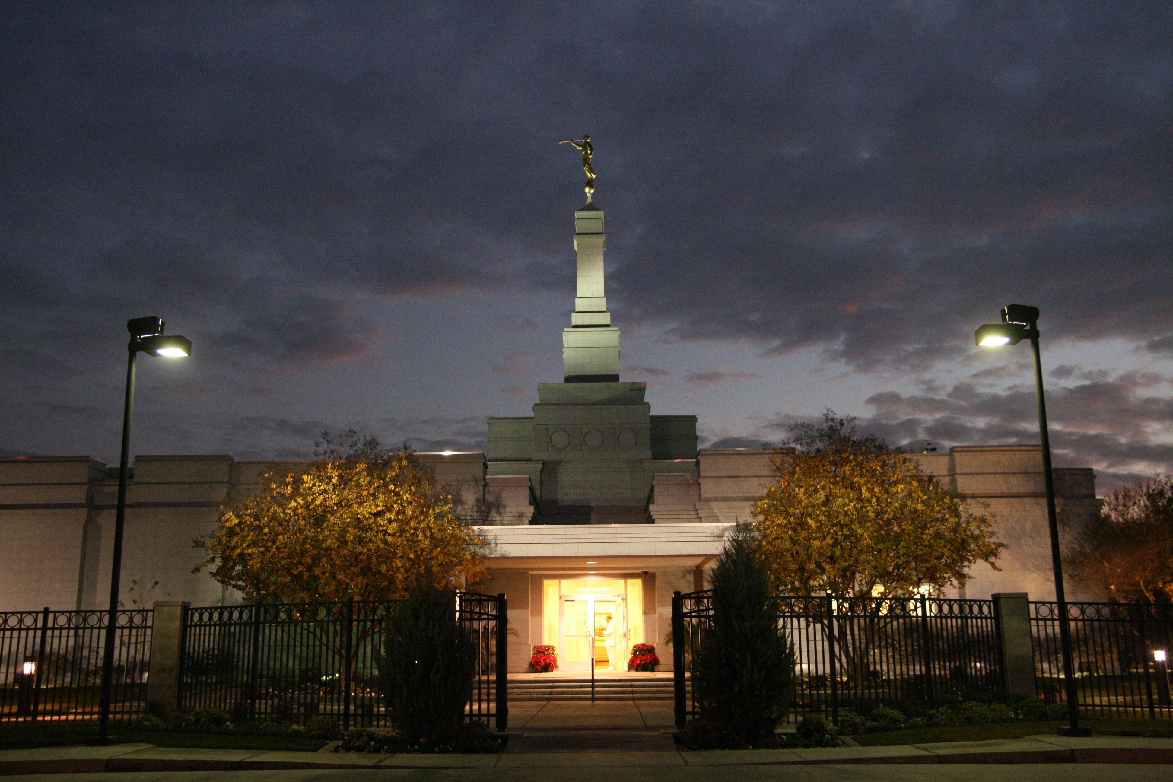 An exterior view of the Fresno California Temple at night.