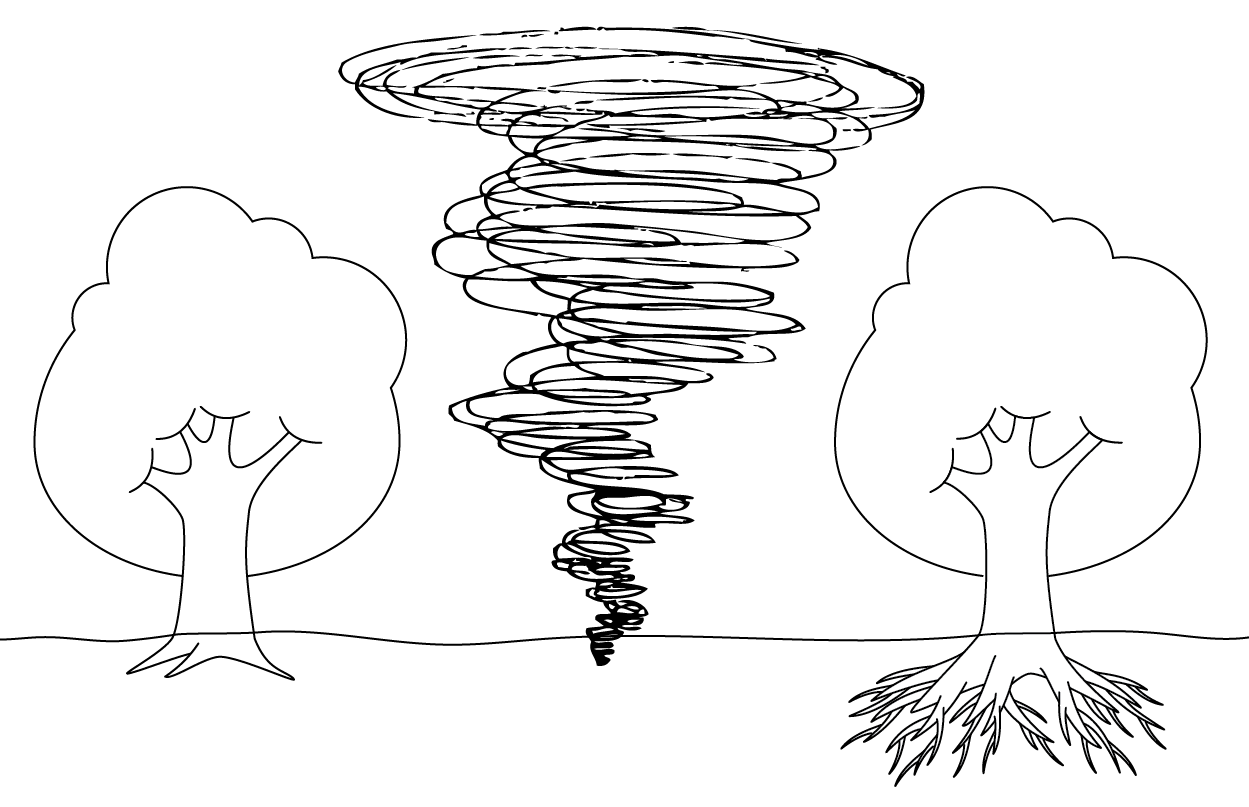 drawing, trees and whirlwind