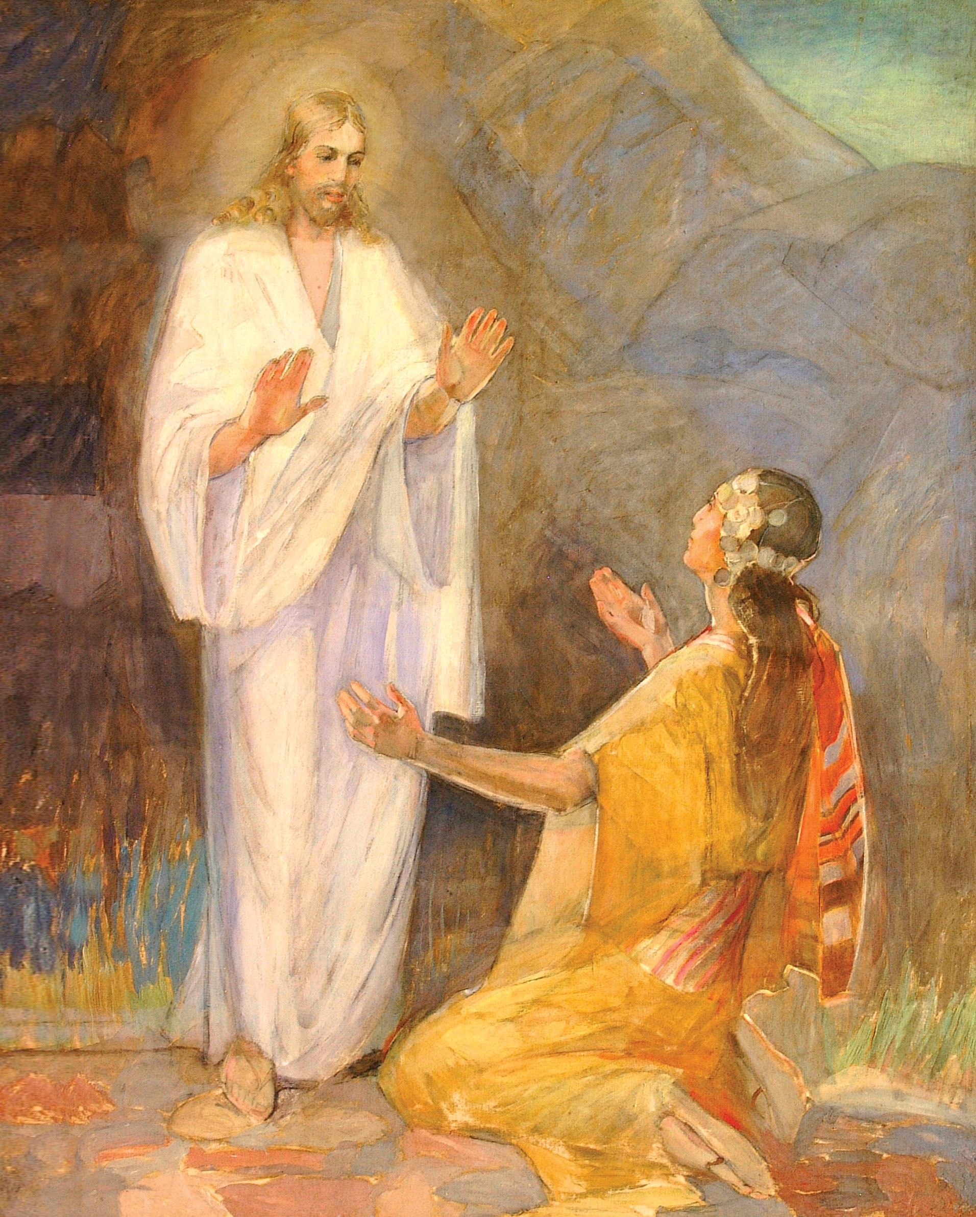 A painting by Minerva K. Teichert of the resurrected Christ appearing before Mary Magdalene, who is kneeling at His feet.