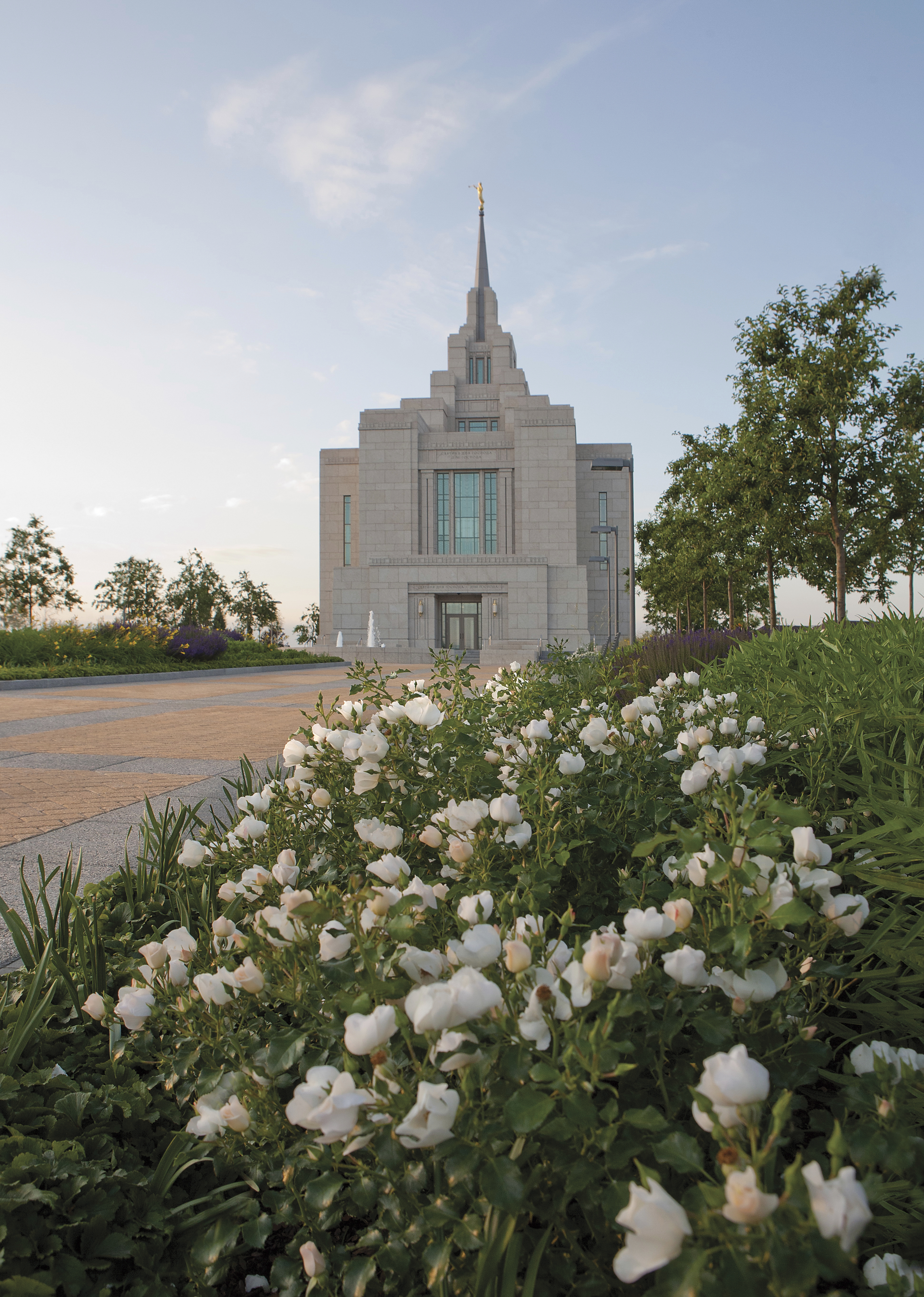 The Kyiv Ukraine Temple, including the entrance and scenery.