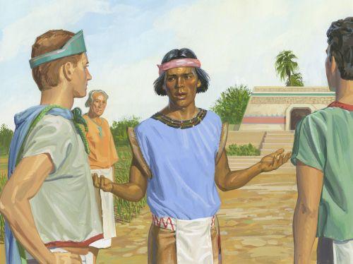 Samuel preaching to Nephites