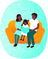 Family reading a book on a couch