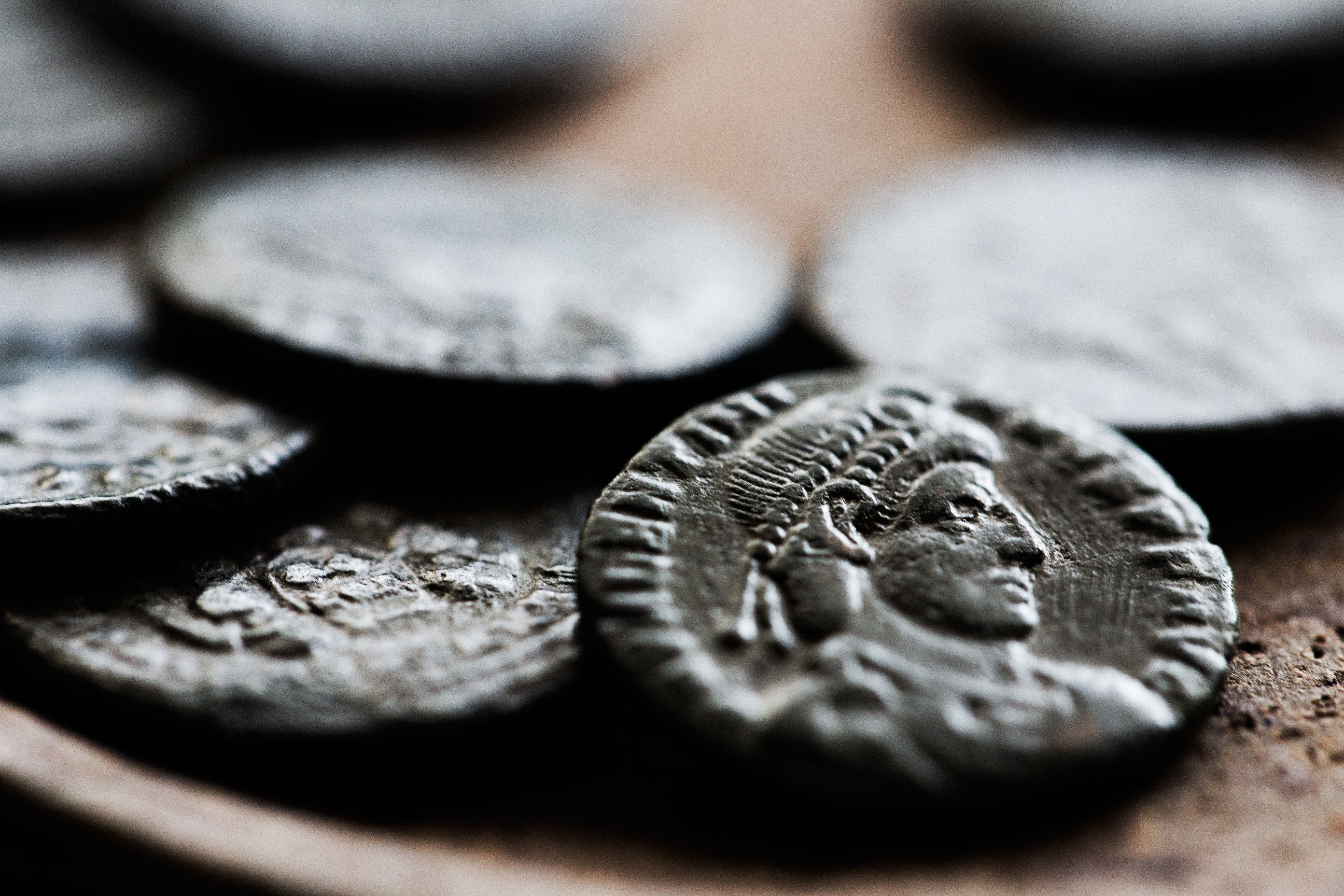 A close-up of some ancient coins.