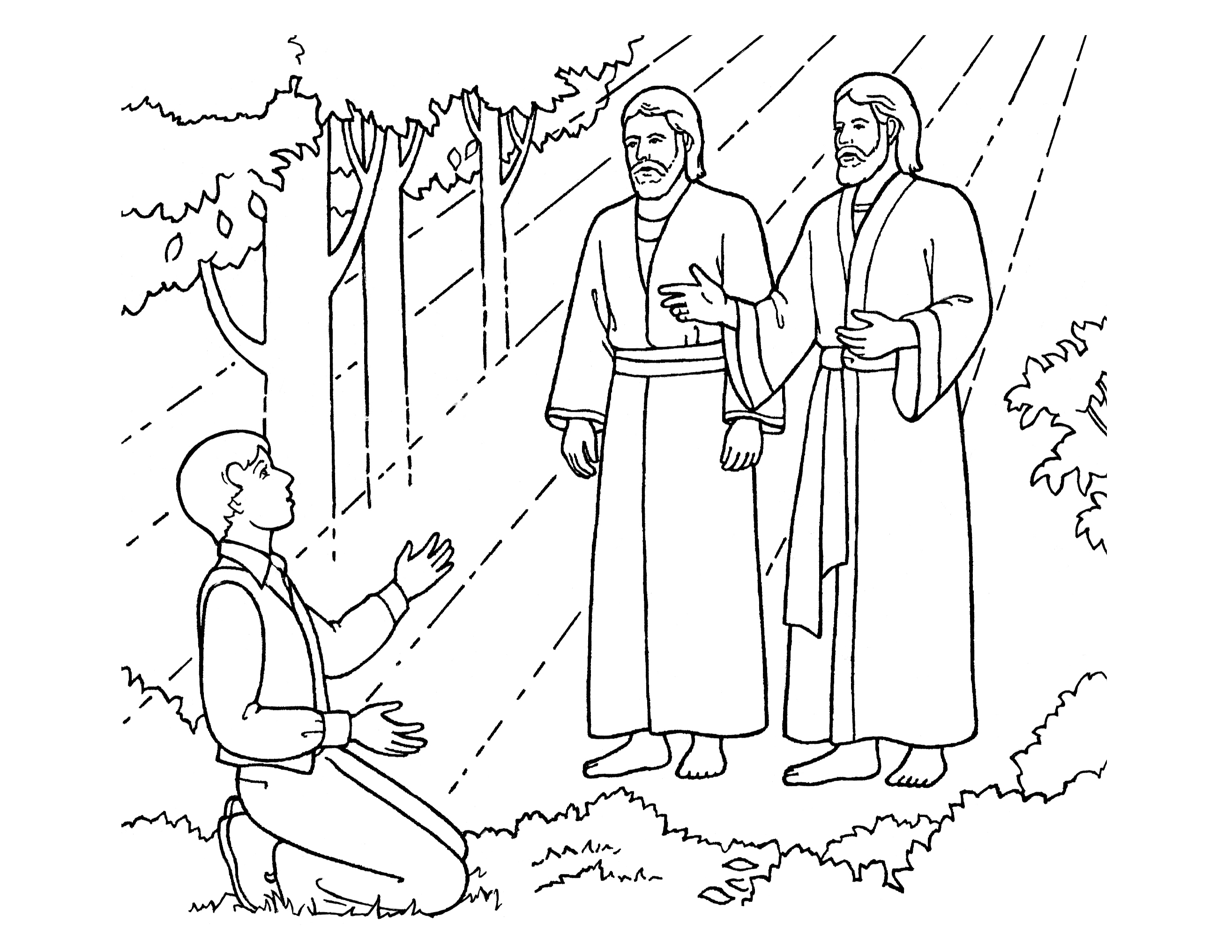 An illustration of Joseph Smith seeing Heavenly Father and Jesus Christ, from the nursery manual Behold Your Little Ones (2008), page 91.