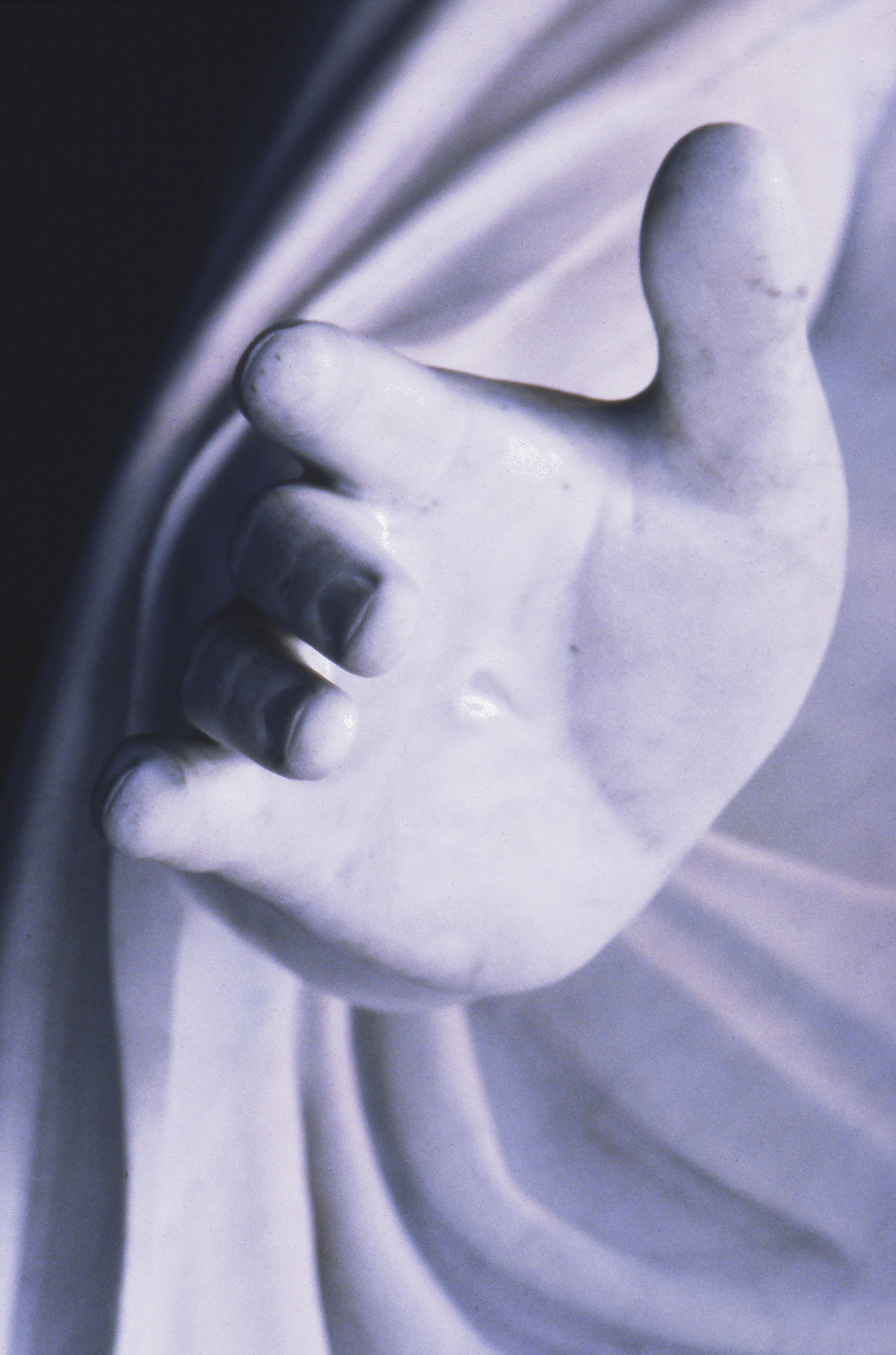 A detail of the hand of the replica of Bertel Thorvaldsen's Christus statue in the Salt Lake North Visitors' Center.