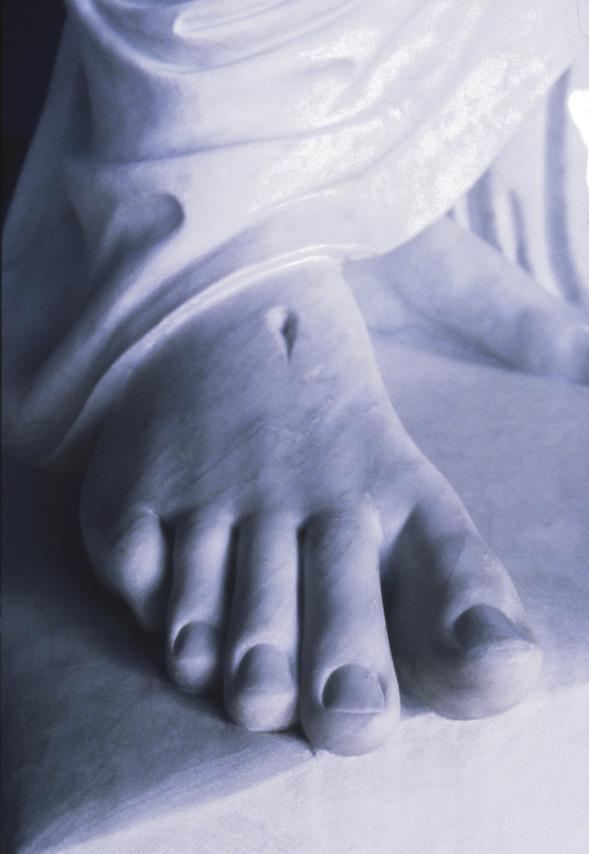 A detail of the foot of the replica of Bertel Thorvaldsen's Christus statue in the Salt Lake North Visitors' Center.
