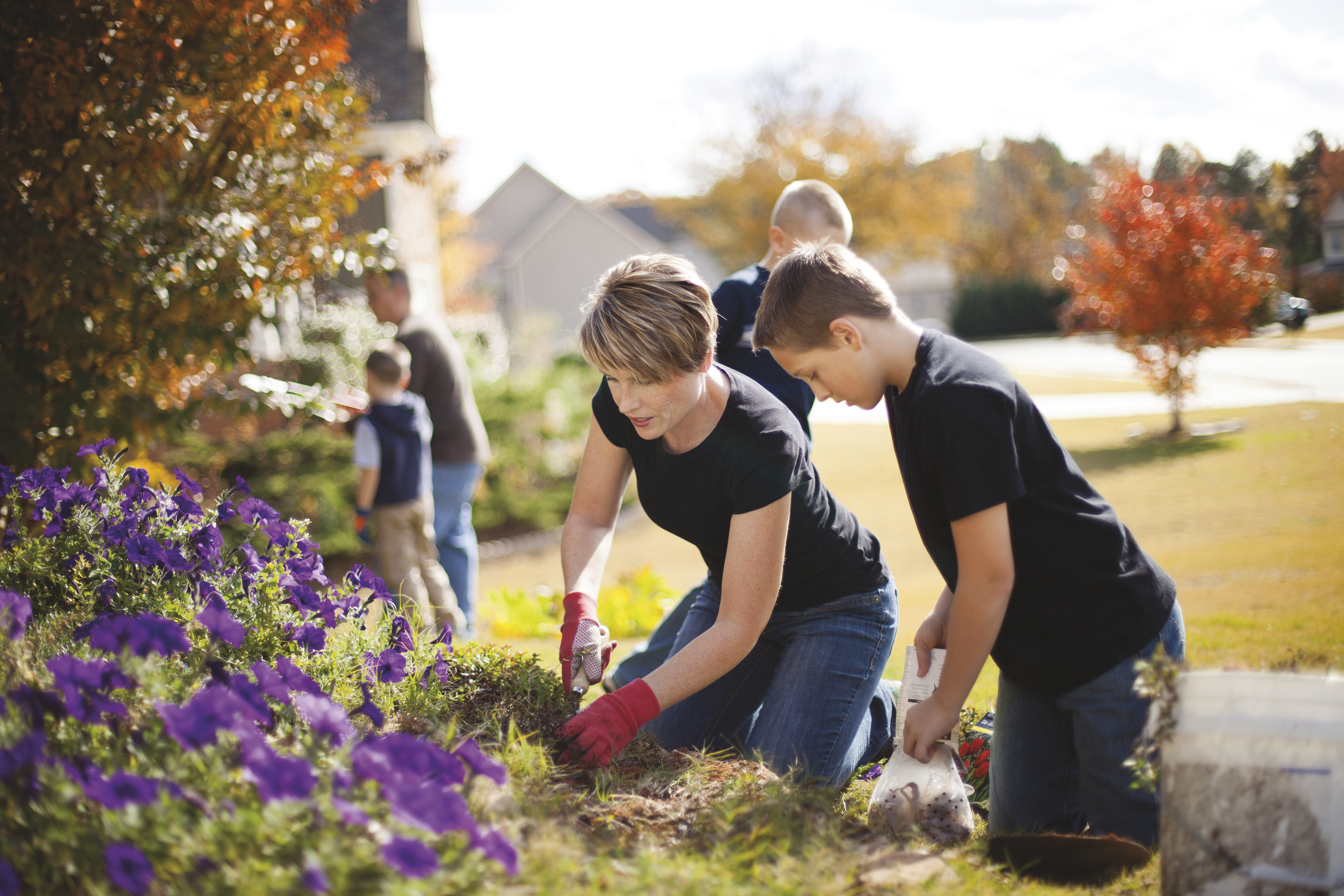 A mother and son working together in a flowerbed.