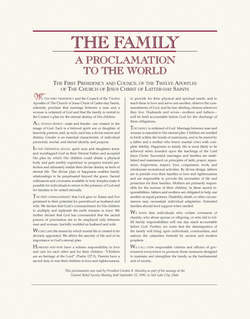 Family, The: A Proclamation, 8.5 x 11
