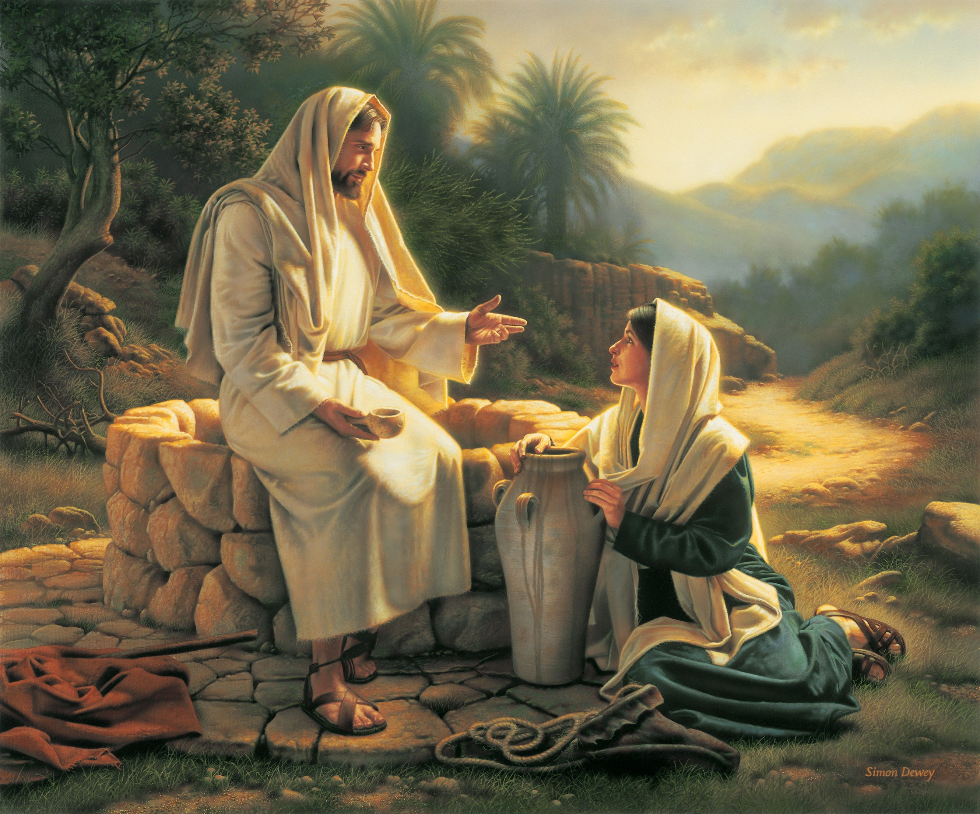 Living Water (Jesus and the Samaritan Woman), by Simon Dewey; GAB 36; John 4:3–30, 39–42; Doctrine and Covenants 63:23